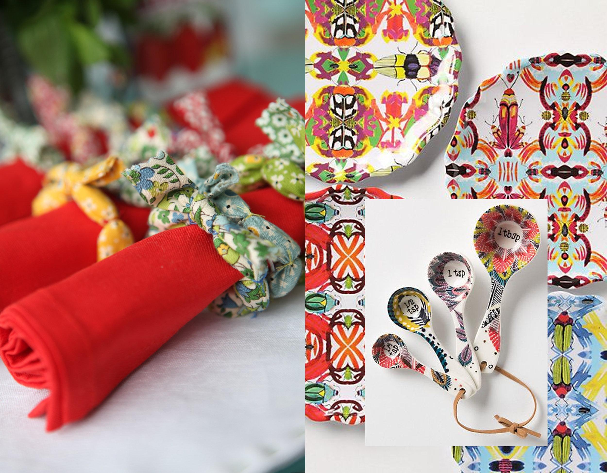 napkin rings  Join us for Dinner  - plates via  Pinterest  - measuring spoons  Anthroplogie