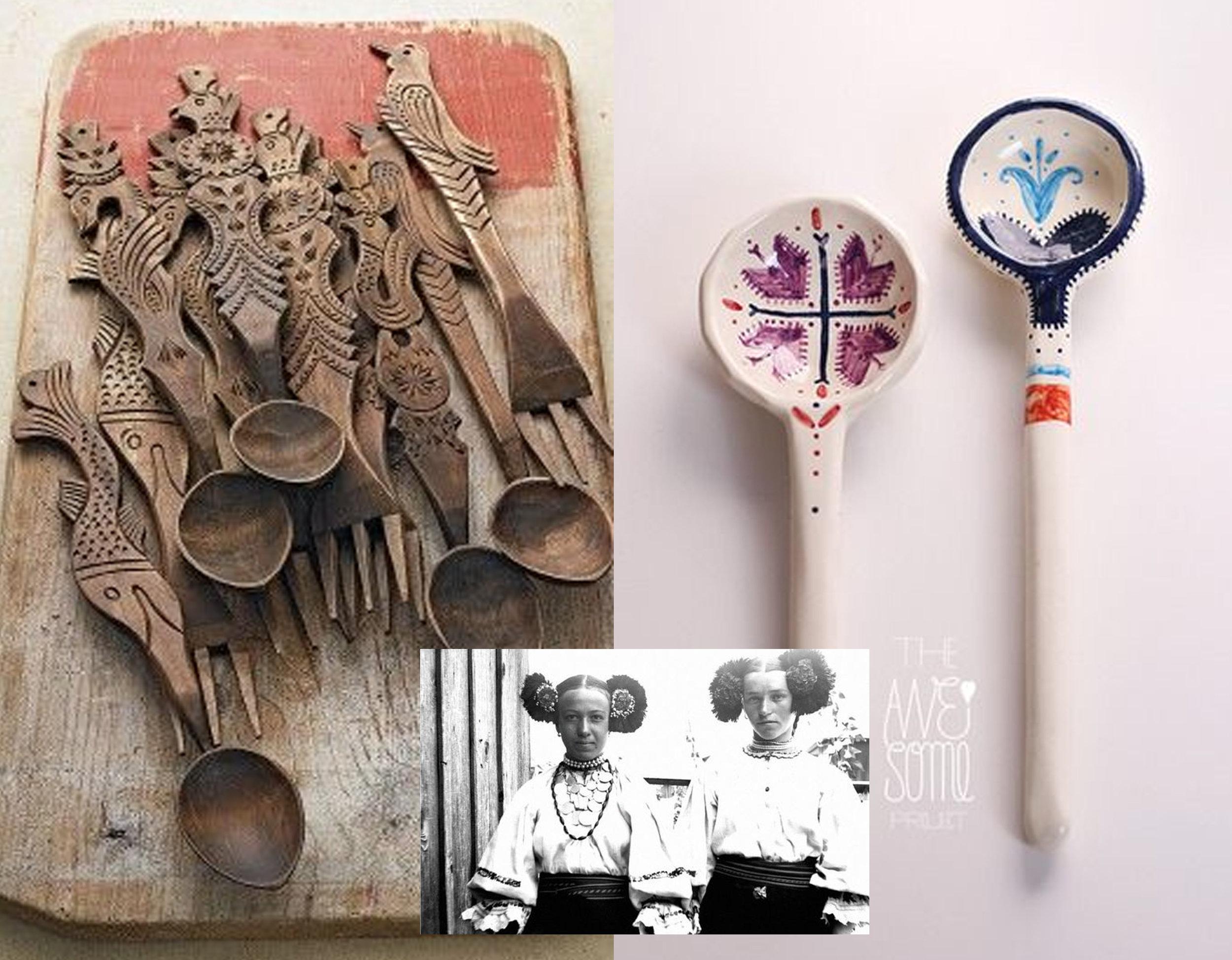 wooden spoons via  Pinterest - ceramic spoons  The Awesome Project  - Romanian women via  Folkwear Society