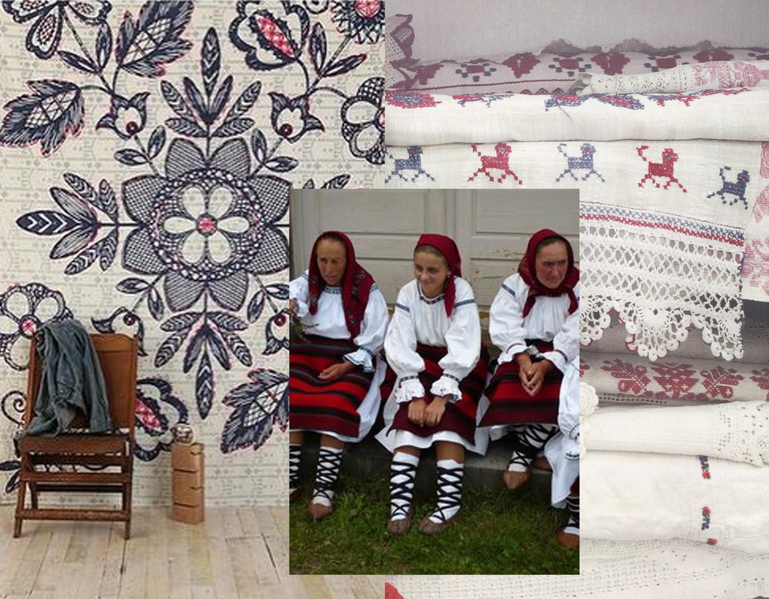 mural via  Cafe Cartolina  - emboideries out of book Peasant museum Bucarest - women traditional cloths via  Grad daniela