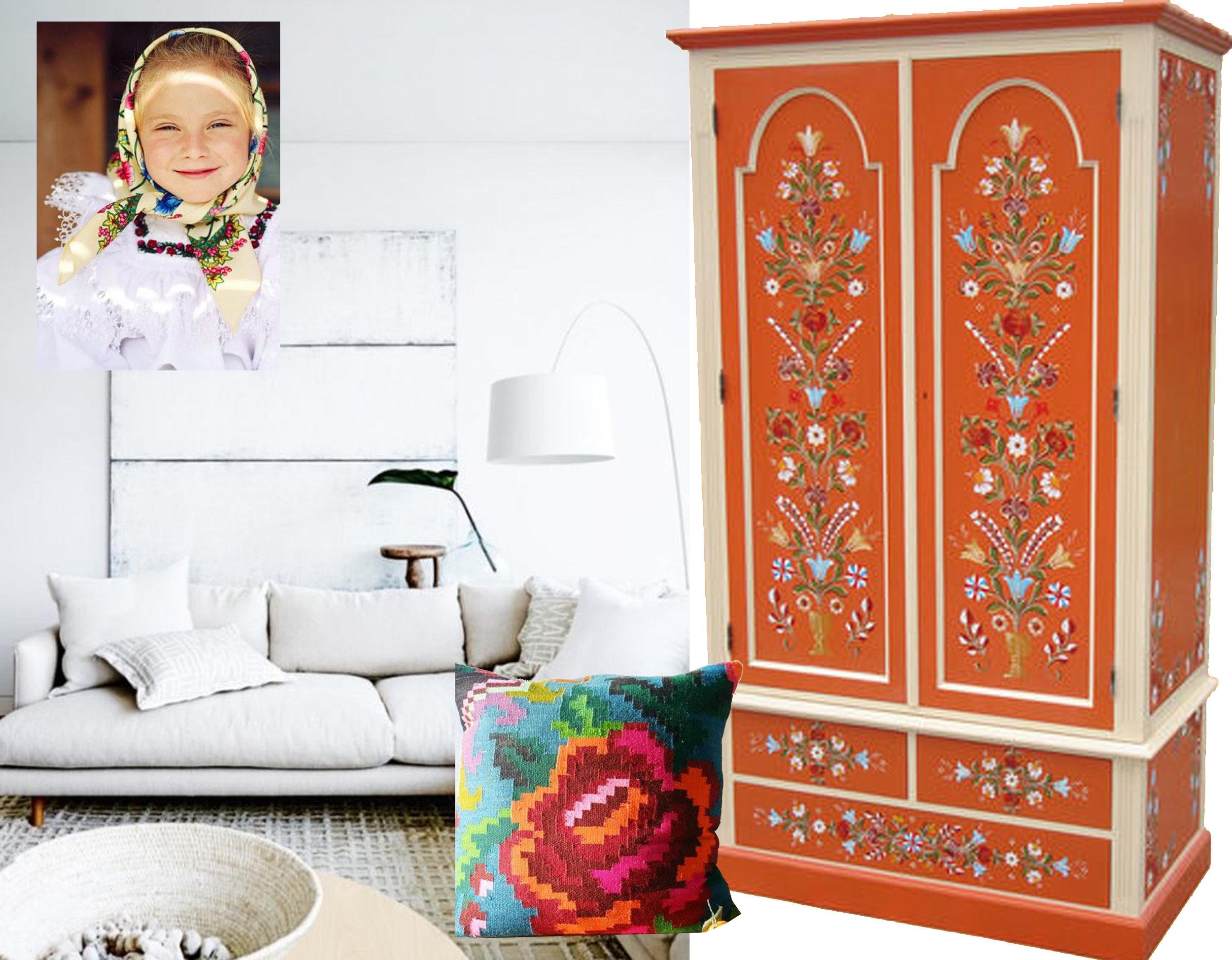 white interior via  The Home Scene  - painted furniture  Mobila Pictata - Romanian girl via  Pinterest  - pillow  The Homedit