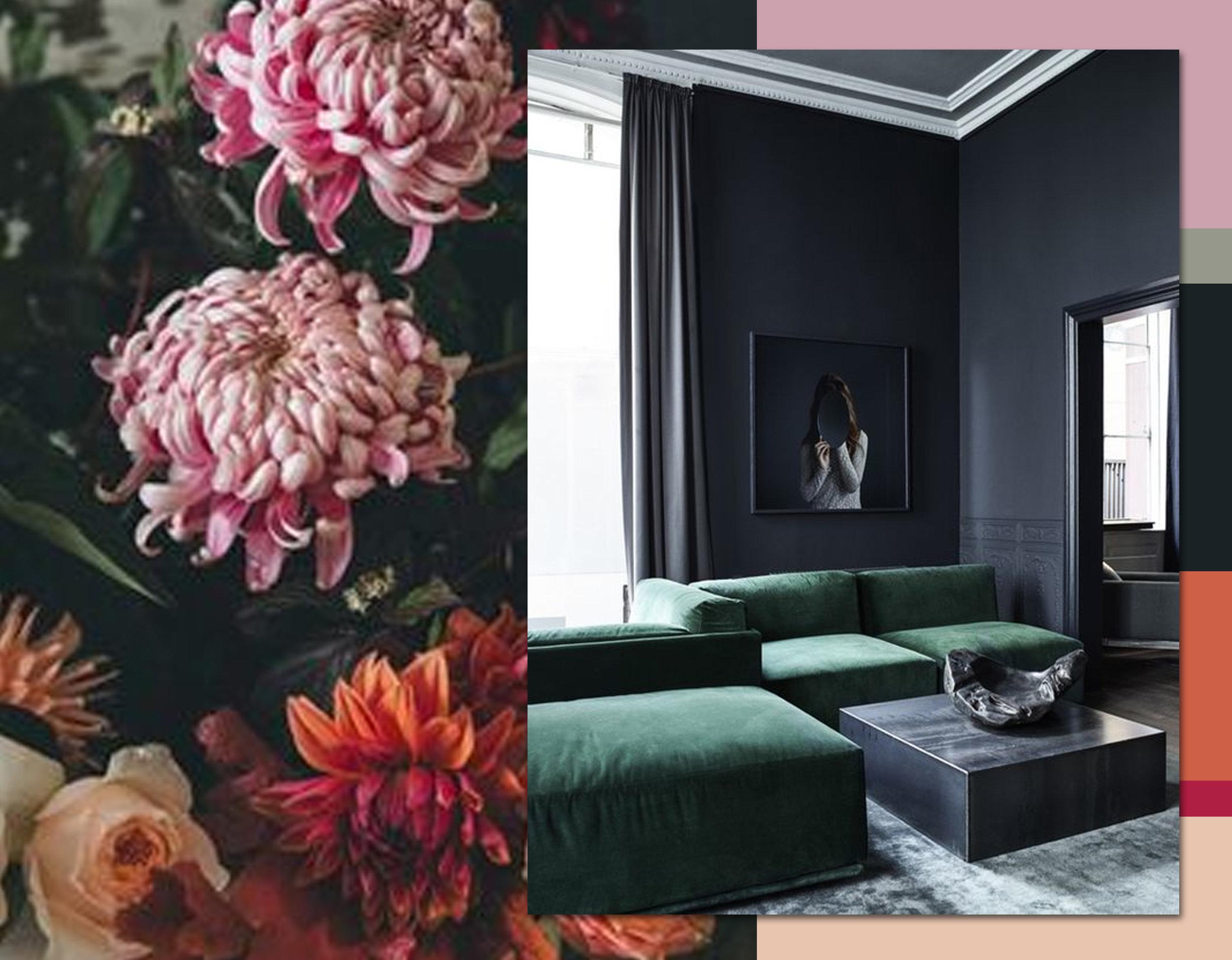 Florals via   Design Sponge - interior  Rue Verte