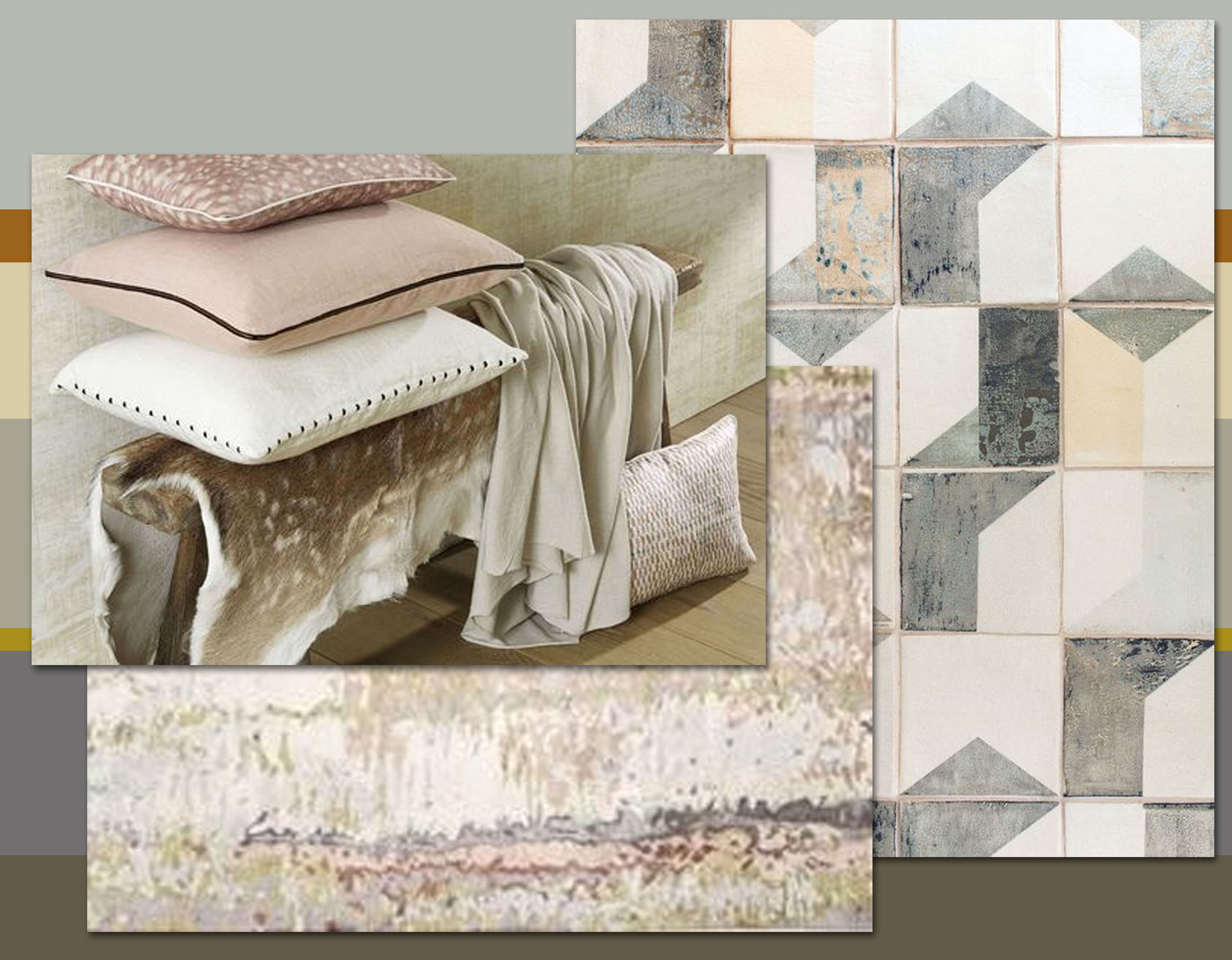 After Lowry ceramic tiles  Smink Things  - Tidal rug  The Rugcompany  - collection of cushions  Elitis