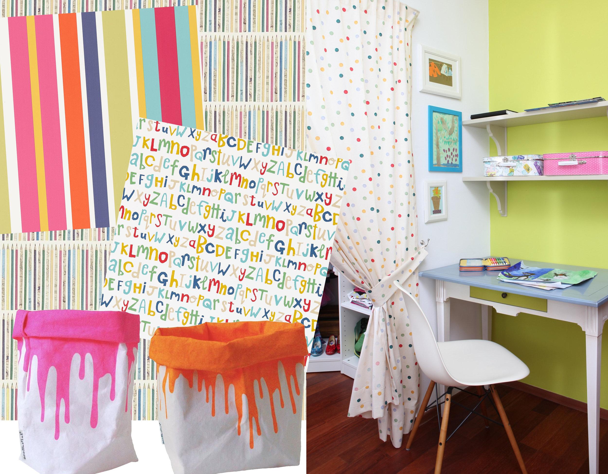 wallpaper  Sanderson  -  Scion - storage bags  Essentialist  - image Sorin Jacob for  Casa Lux  -  project  Primaverii 2015