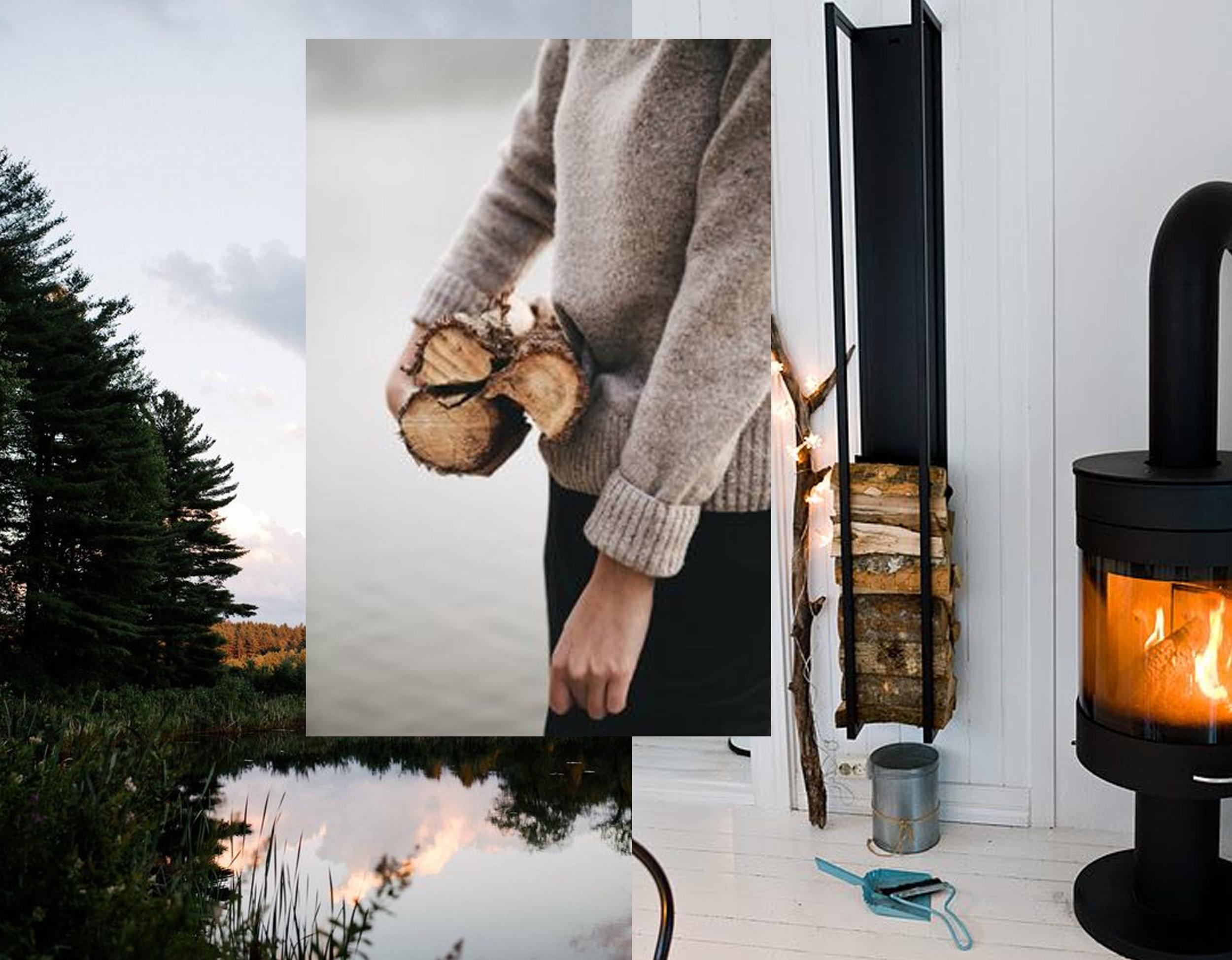 outdoor photography via  Vogue  - image woman with wood via  Vineet Kaur - open fire image via  Pinterest