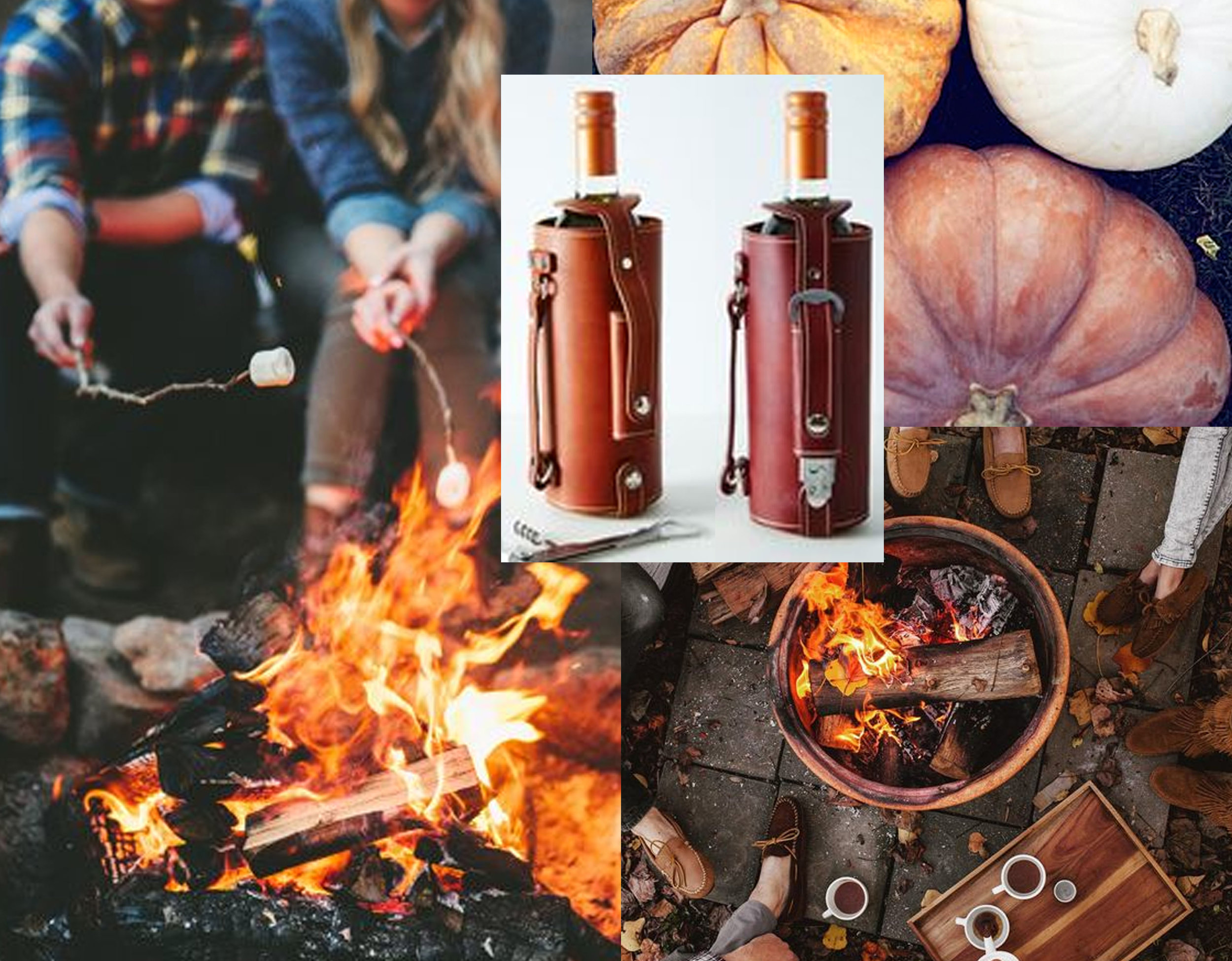 leather-handled wine carrier  Food 52  - image pumpkins via  The Rowdy Stroudy  - hot cocoa round bonfire via  Tifforelle