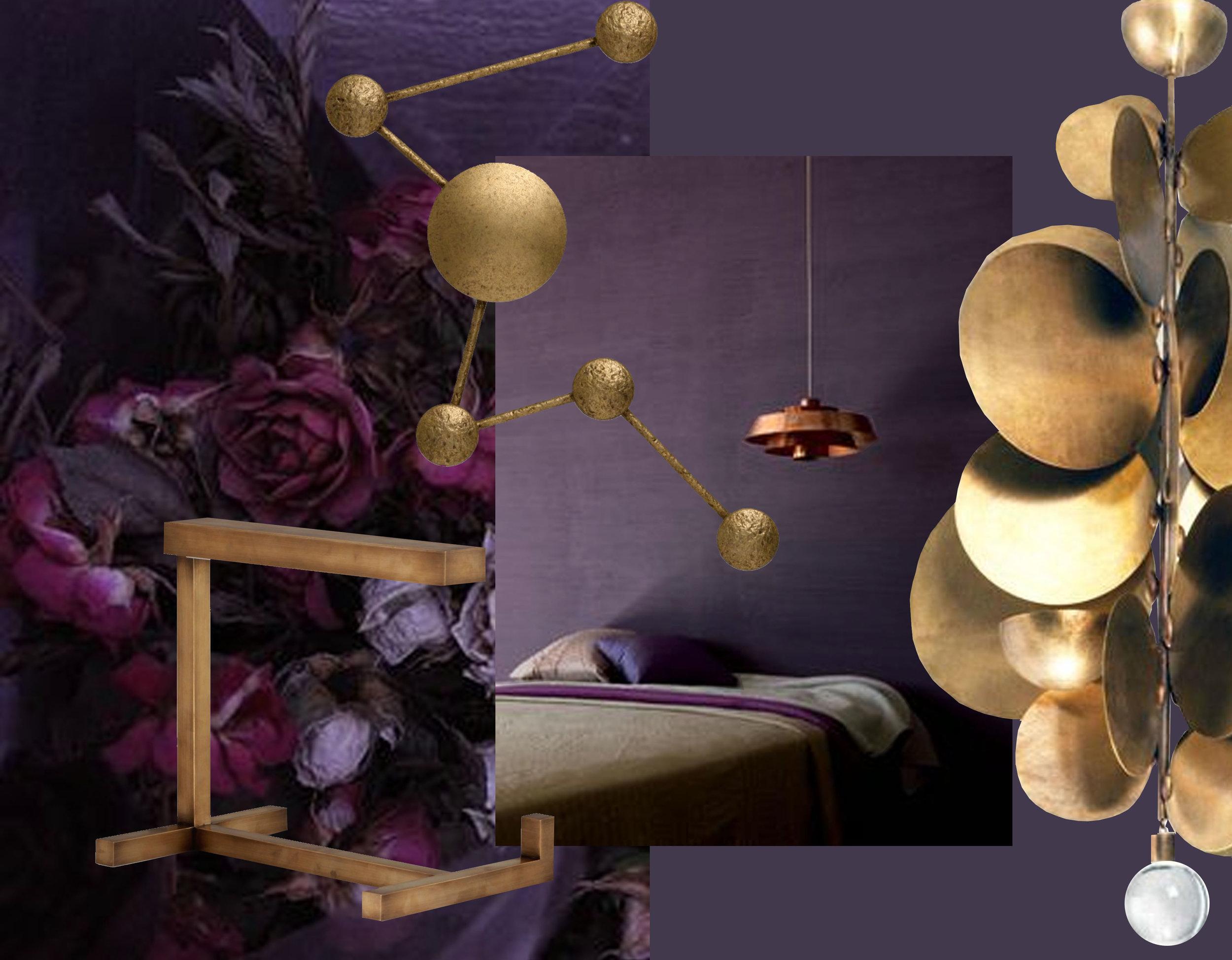 flowers via  Wish  - bedroom image via  Fresh Home  - Horizon desk lamp  Porta Romana  - wall lamp Constellation  Porta Romana  - Pastille hanging lamp Herve Van der Straeten via  Veranda
