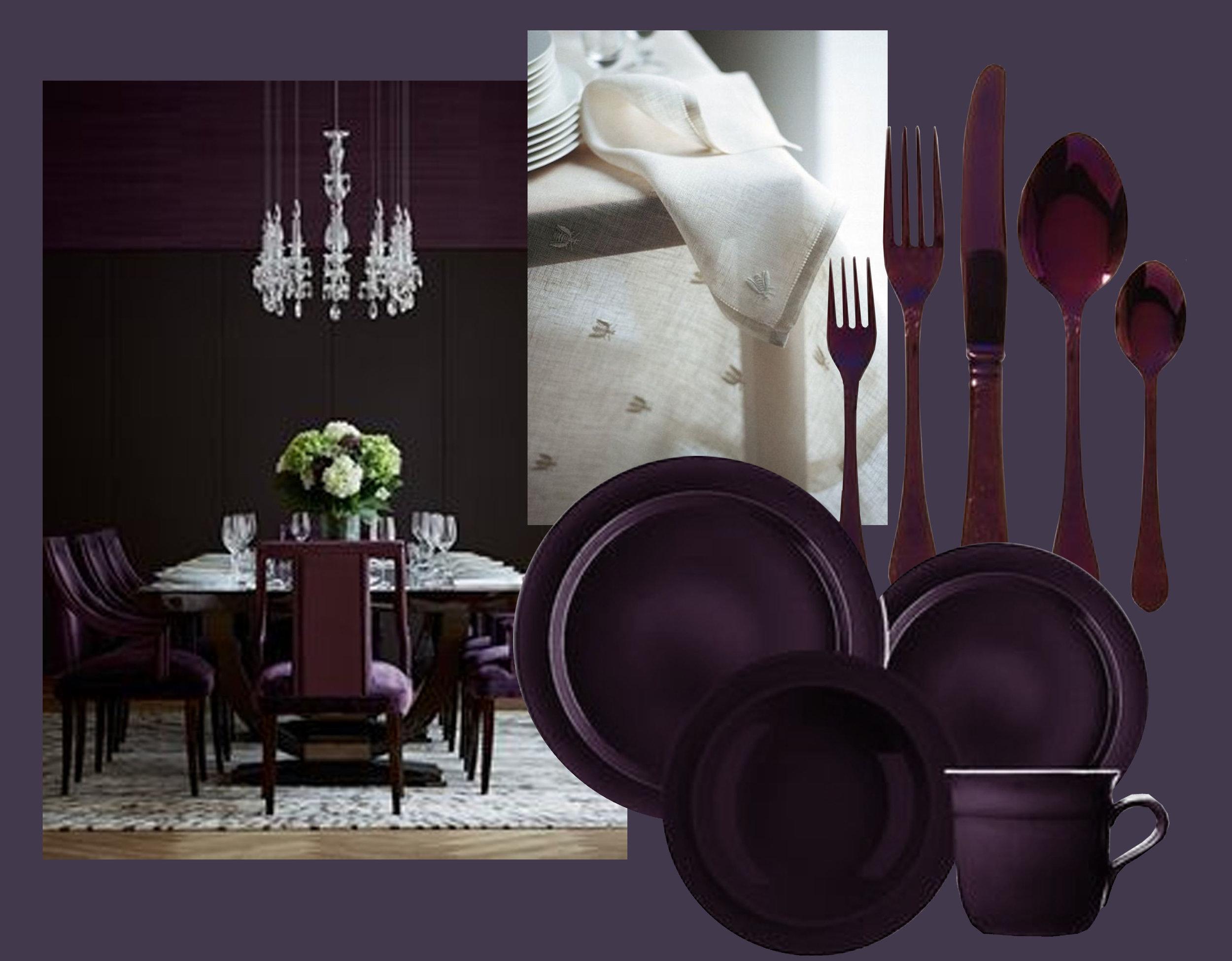 image dining via  Decor & Style  - table linen  Tina Motto  - tableware  Emile Henry - cutlery via  Pinterest