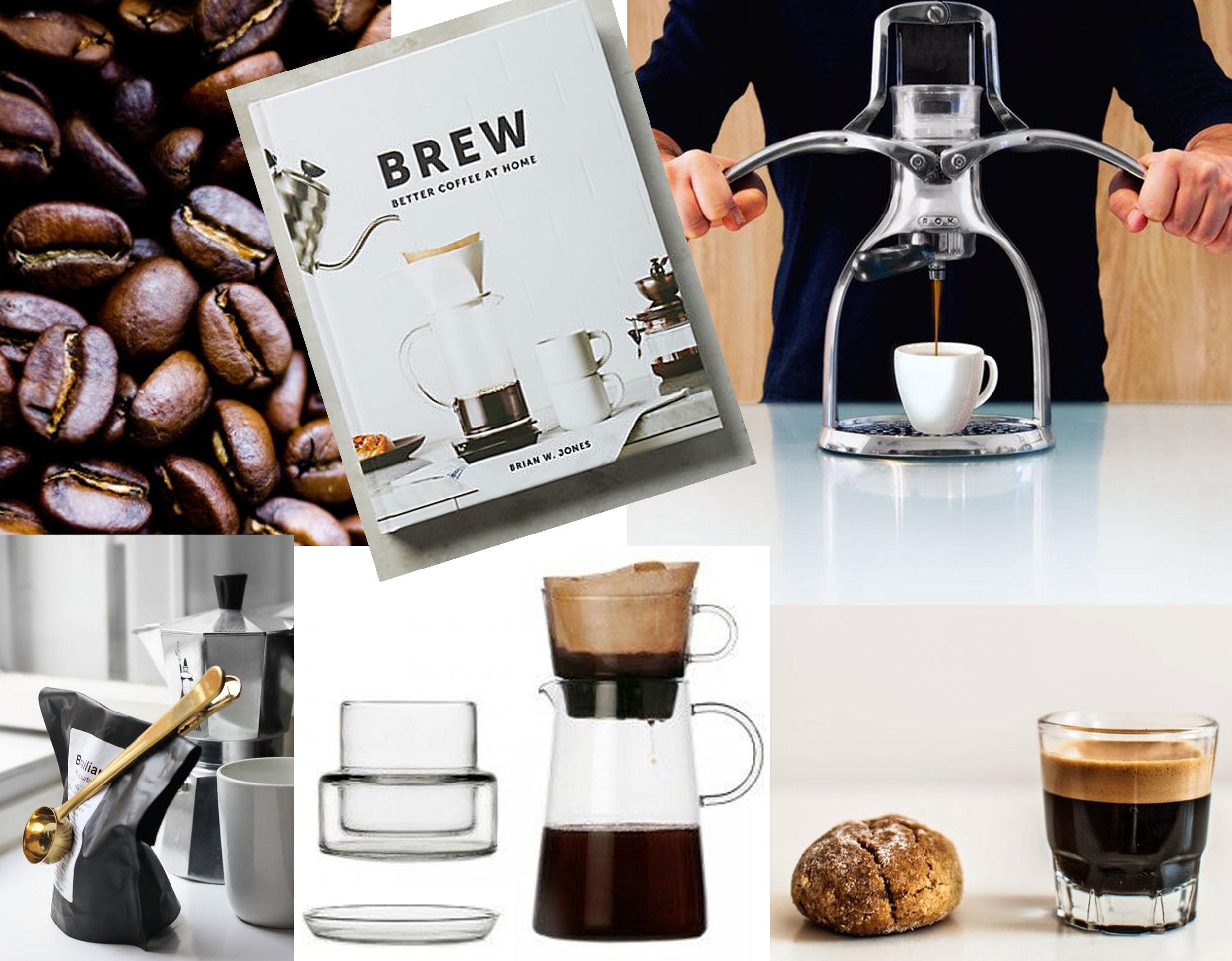 image coffee beans via   Bon Appetit  - Brew: better coffee at home  Amazon  - Rok espresso maker  Rok Kitchen Tools  - cup and Penguin coffee pot  Ichendorf Milano  - Clip Clip by  Hay  - image espresso via  Pinterest