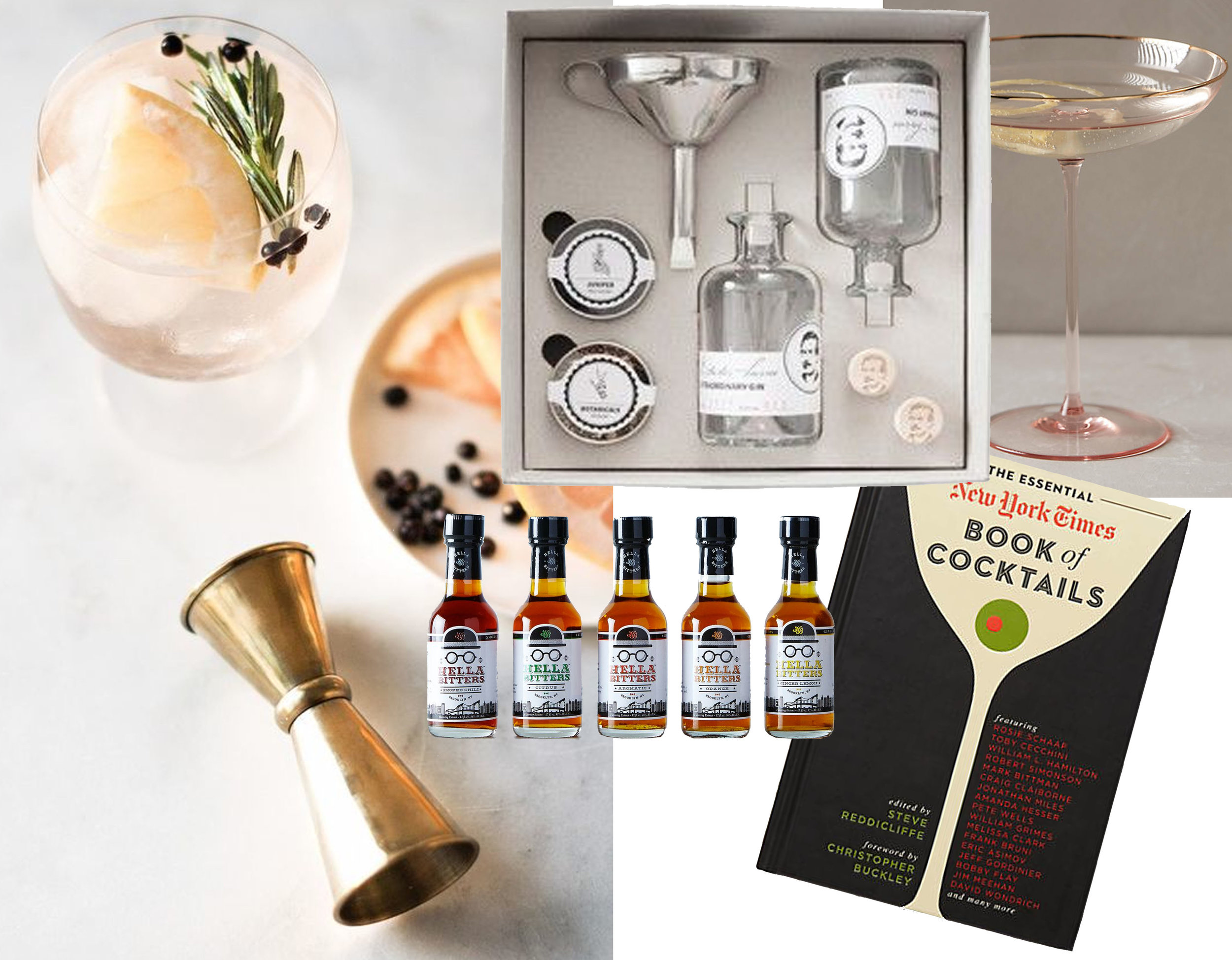 image cocktail via  Craft + Cocktails  -  Dr. Charles Levine  gin kit - Mini Bitters  Food 52  - Book of Coctails  NYTimes