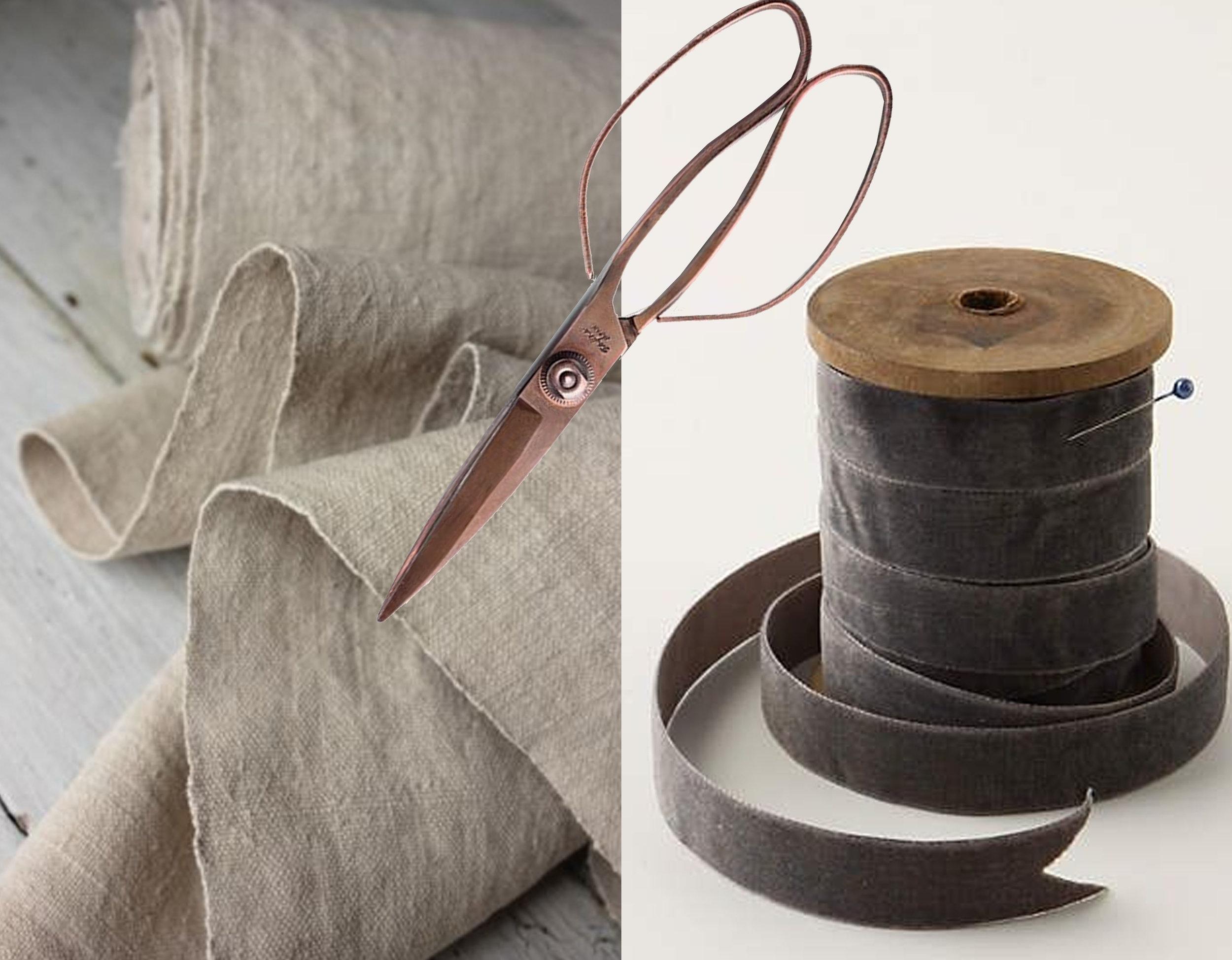 vintage washed linen  Ebay  - velvet ribbon - scissors  Kaufmann Mercantile