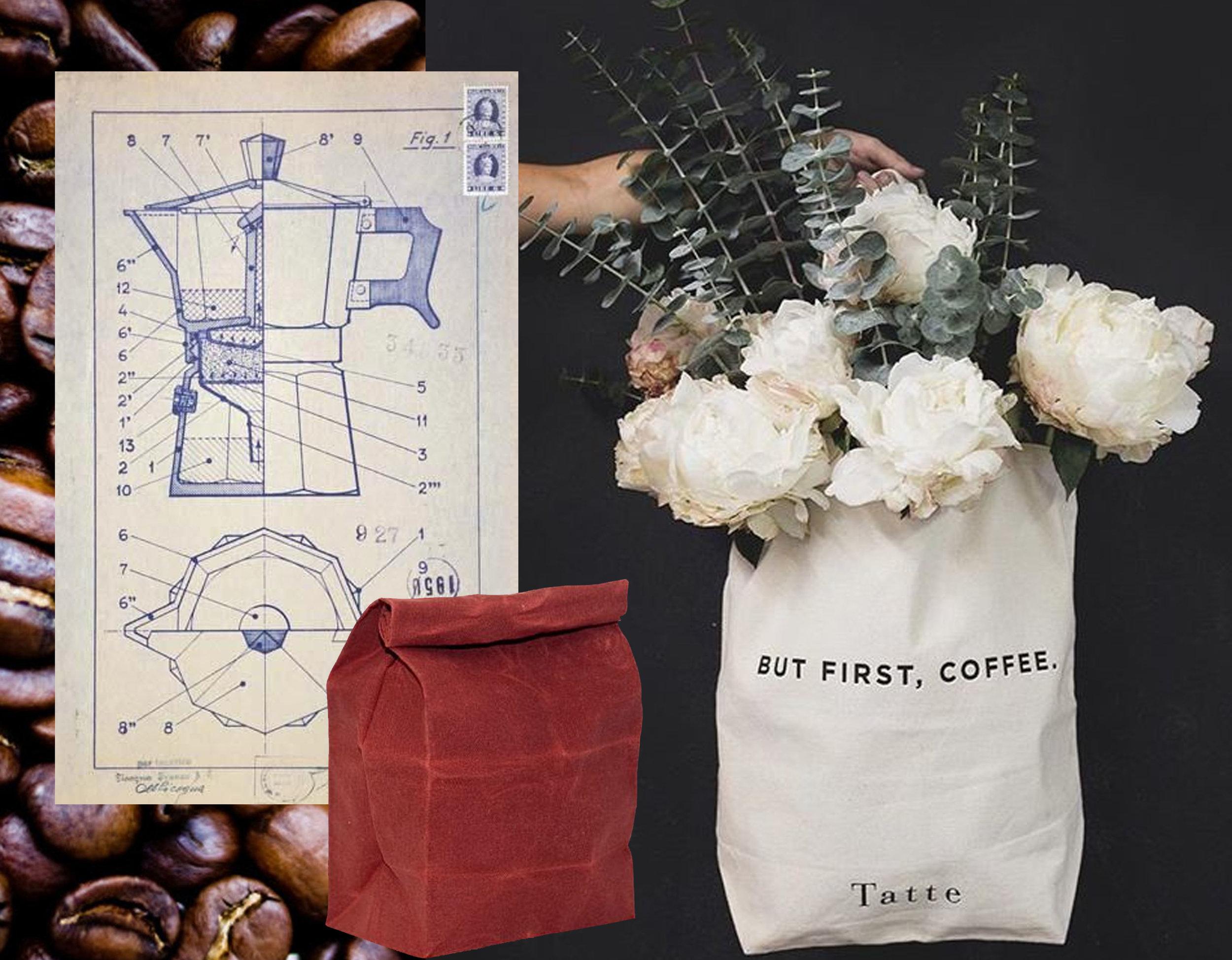 image coffee beans via  Bon Appetit  - Alfonso Bialetti coffee maker design via  L'Aragosta  - lunch bag in waxed cotton  Waam Industries  - But First, Coffee via  Sinsdesign