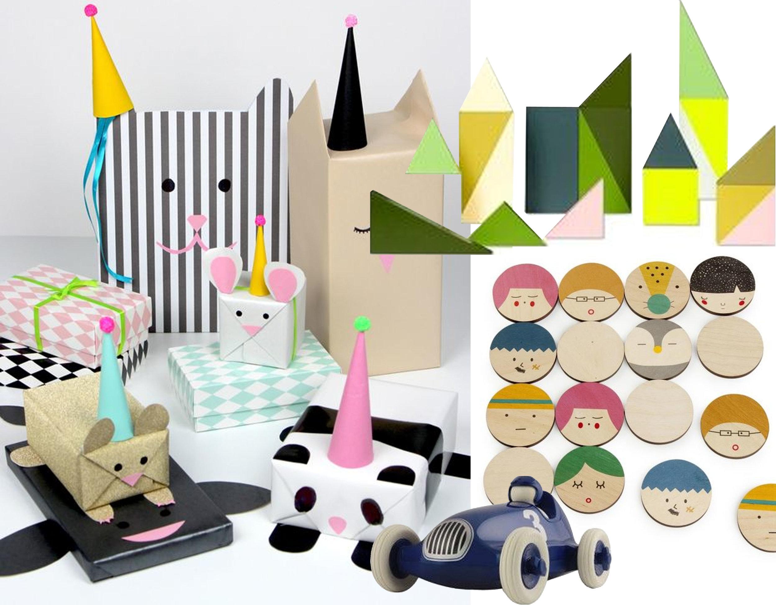 kids' gift wrapping ideas via  Blog&Ide - Memo Me memory set  Arthur  - Wooden Wonderland  Hay Mini Market  - Bruno Racing Toy Car  Plays Forever