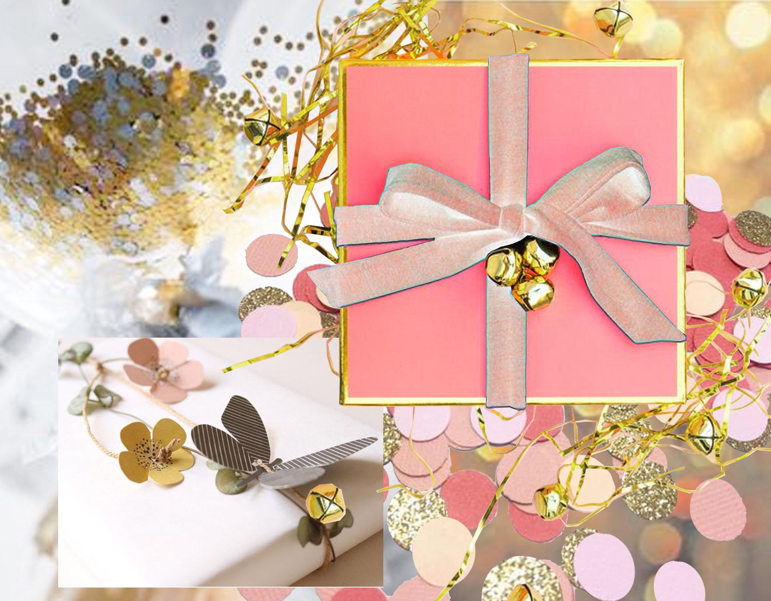 ballon with gold confetti via T he 36th Avenue  - wrapping idea box via  Sarah Hearts  - colorful confetti via  Paper Confetti  - decorative wrapping ribbon Fields of Joy  Jurianne Matter