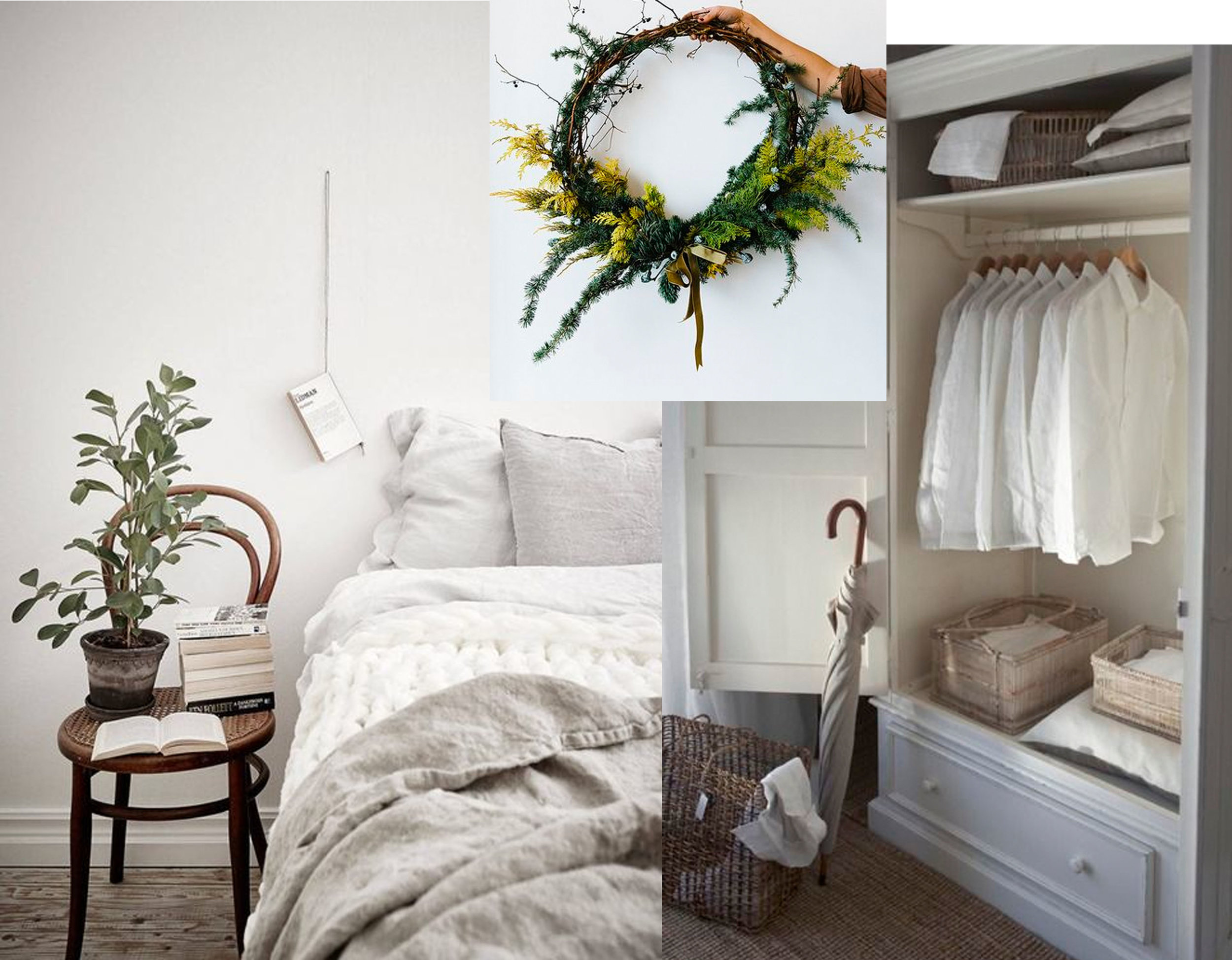 image via  Grey Deco  - Wreath via  Pinterest  - wardrobe via  Seaglass