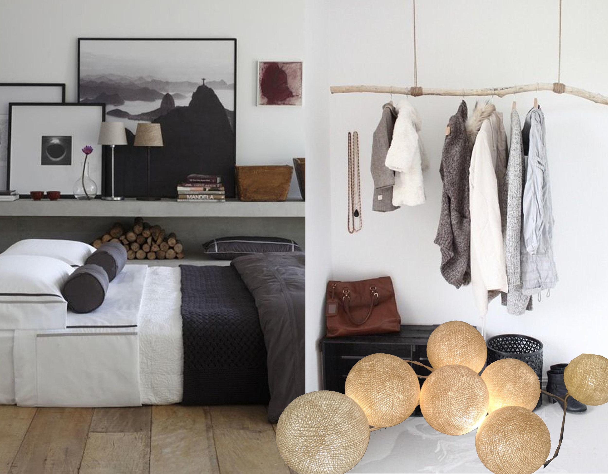 bedroom via  Frog Hills Design - cloth rack via  DIY to Try  - cotton ball string lights  Ginew