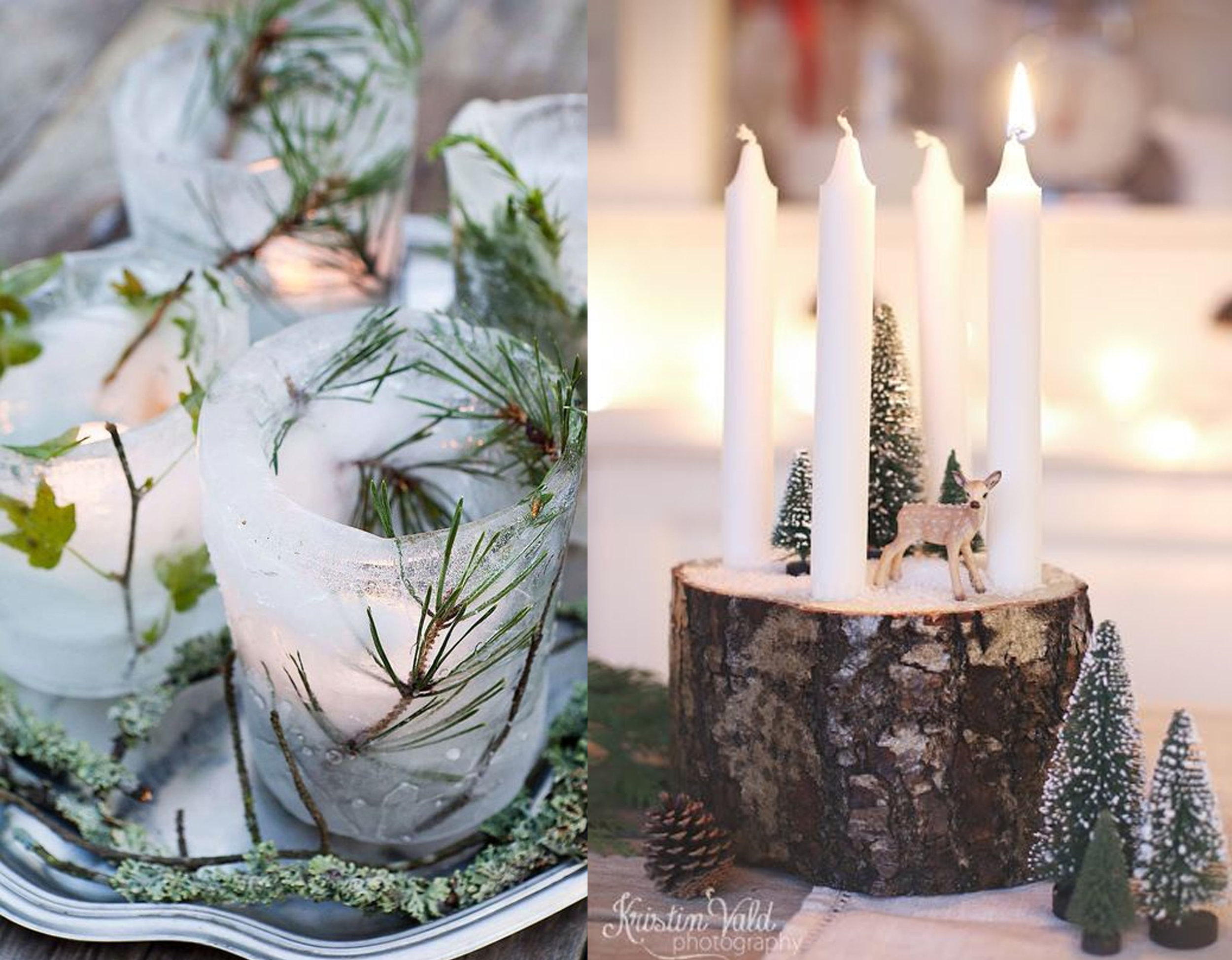 candles in ice via  Idei-Dekoru  - candles on wood base via  Kristin Vald