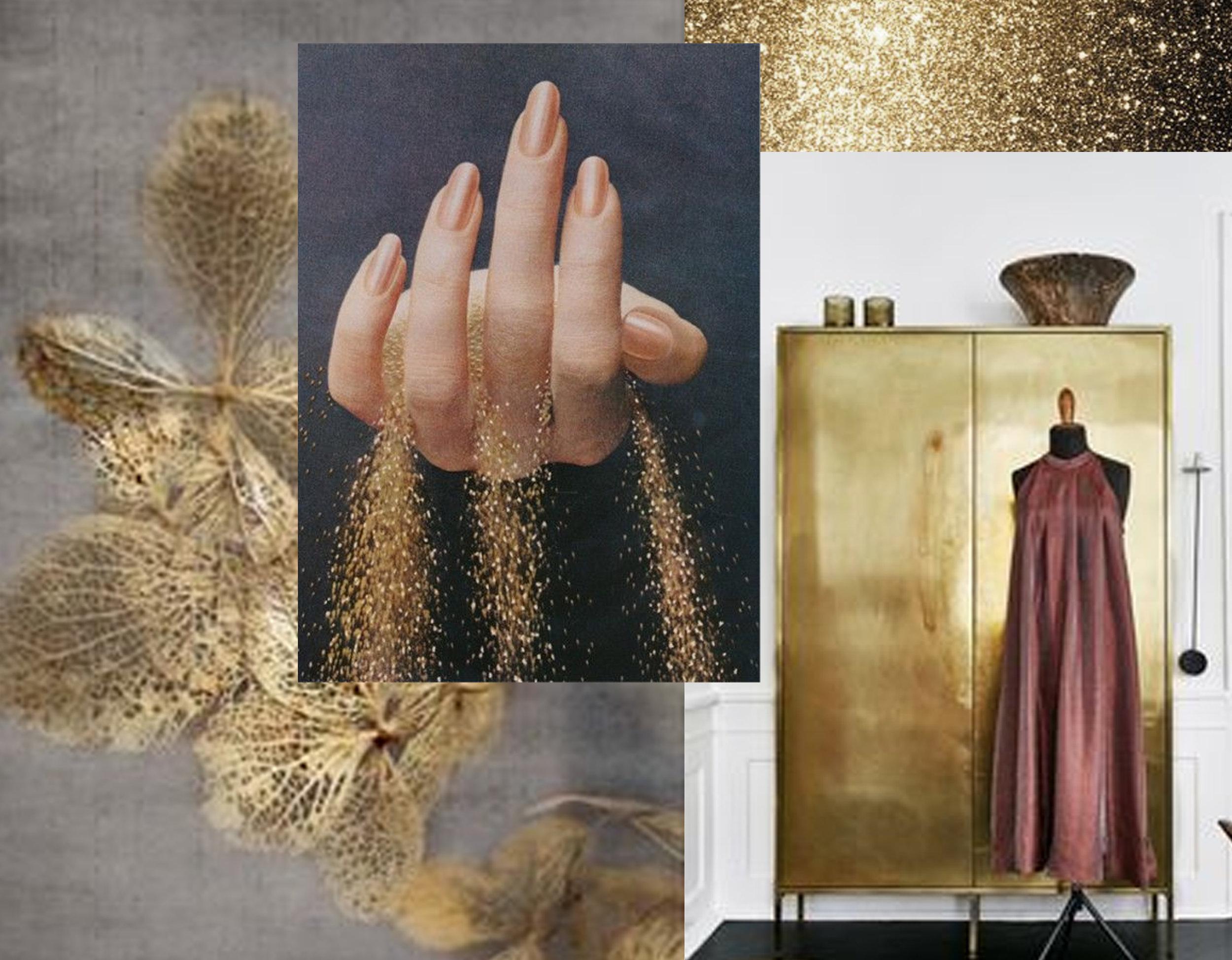 gold flowers  Pinterest  - gold glitter via  Snap Magazine  - golden closet via  Daily Dream Decor