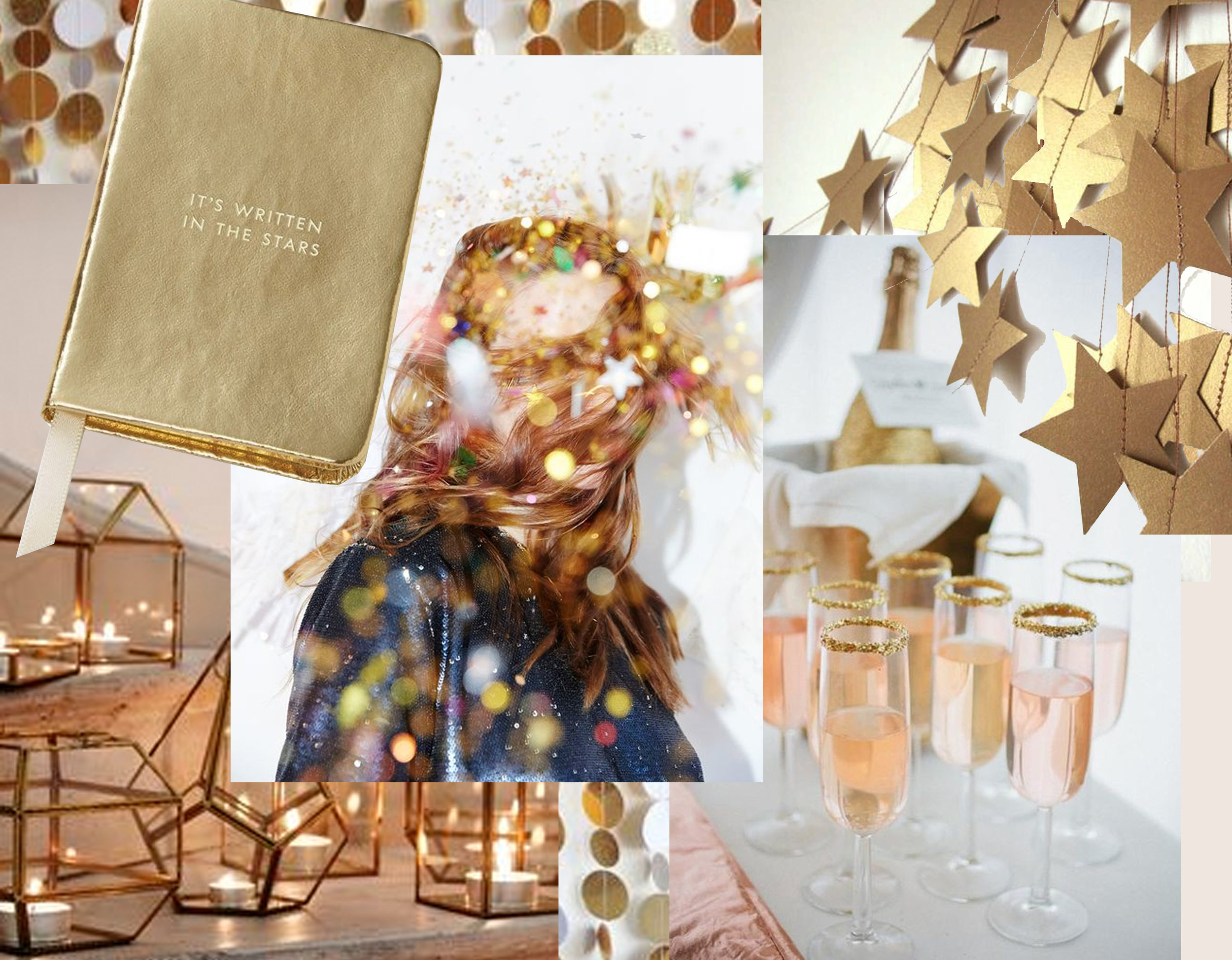 journal  Moments don't collect dust  - candle holders  Oliver Bonas  - woman image via  Urban Outfitters  - drinks via  100 Layers Cake  - star garland via  Trend Hunter