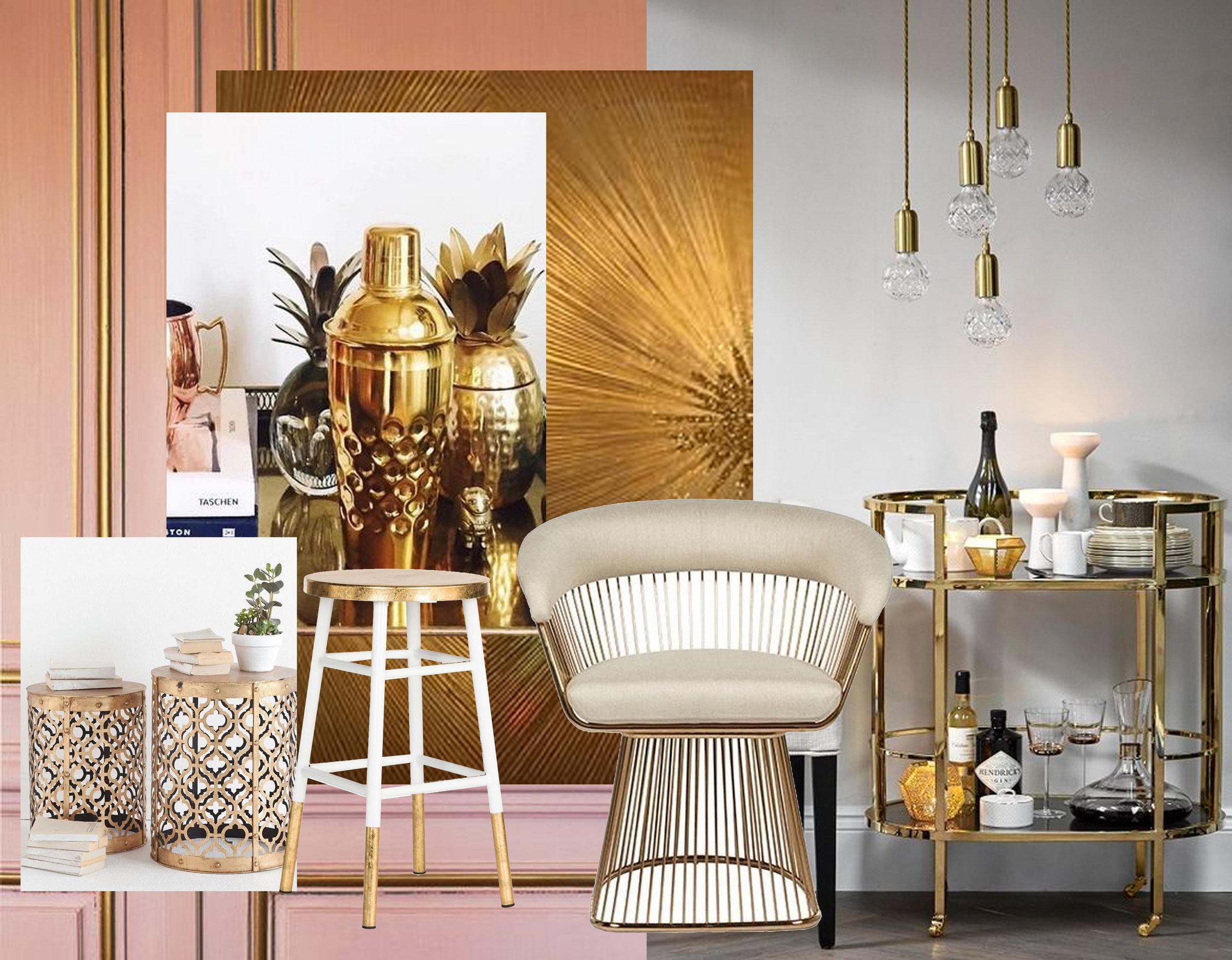 Gabriel counter stool  Domino  -golden cocktail shaker  Anthropology  - Eva armchair  Globe West  - golden drink trolley via  Home Girl London
