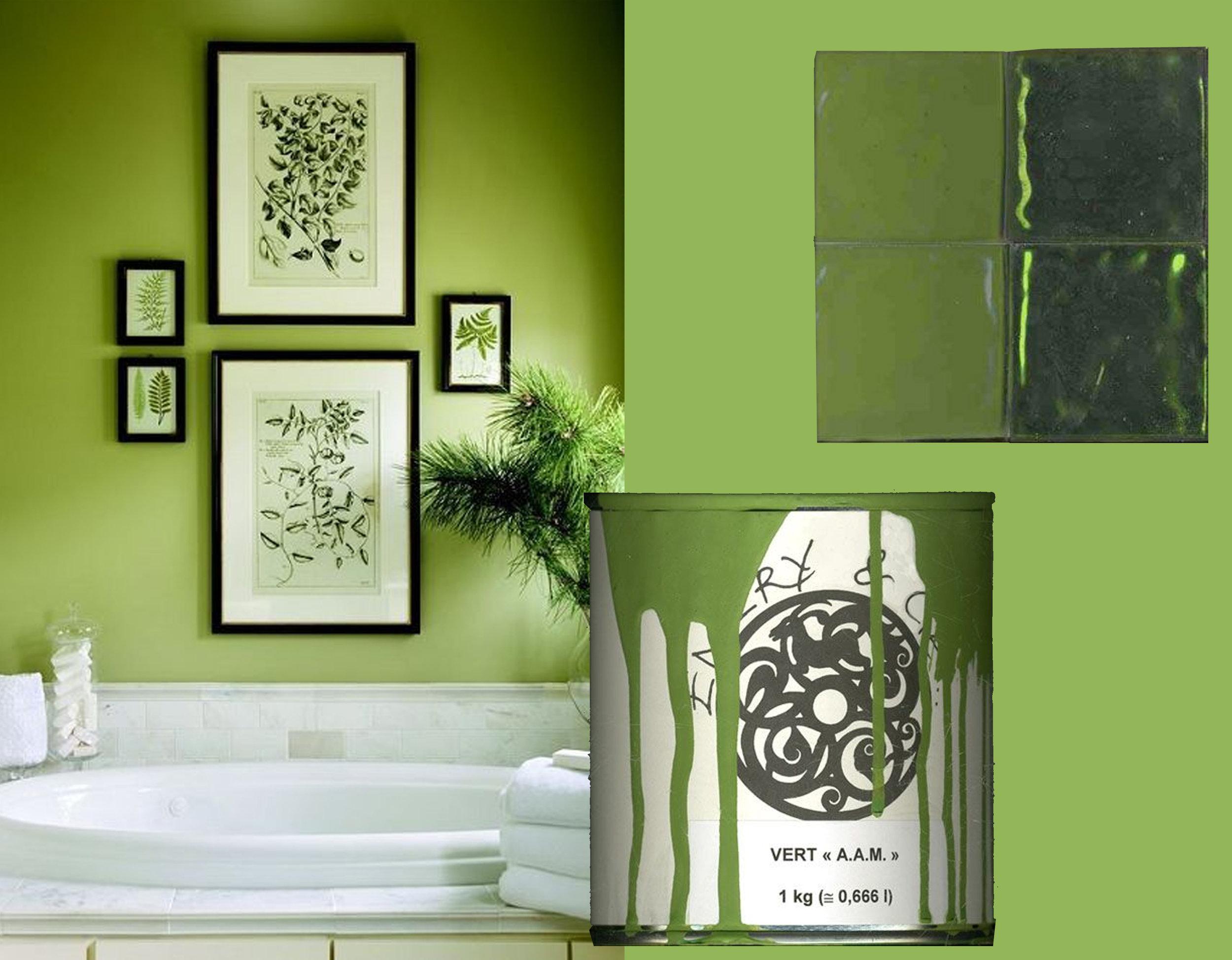 image bathroom via  The English Room  - paint  Emery  - glass tiles  Emery