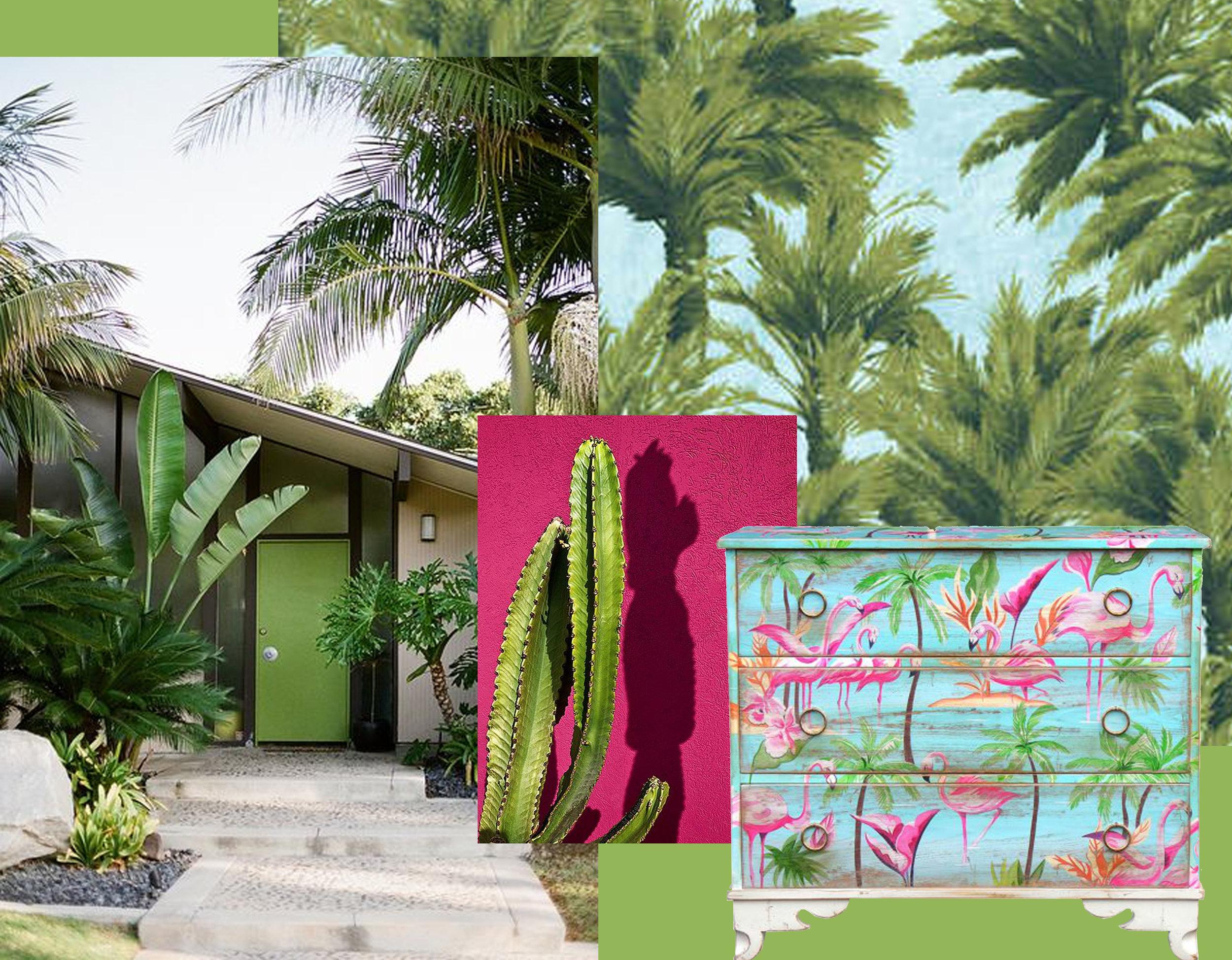 facade via  Flickr  - cactus via  Pinterest  - wallpaper Mauritius  Pierre Frey  - chest of drawers  Moissonnier