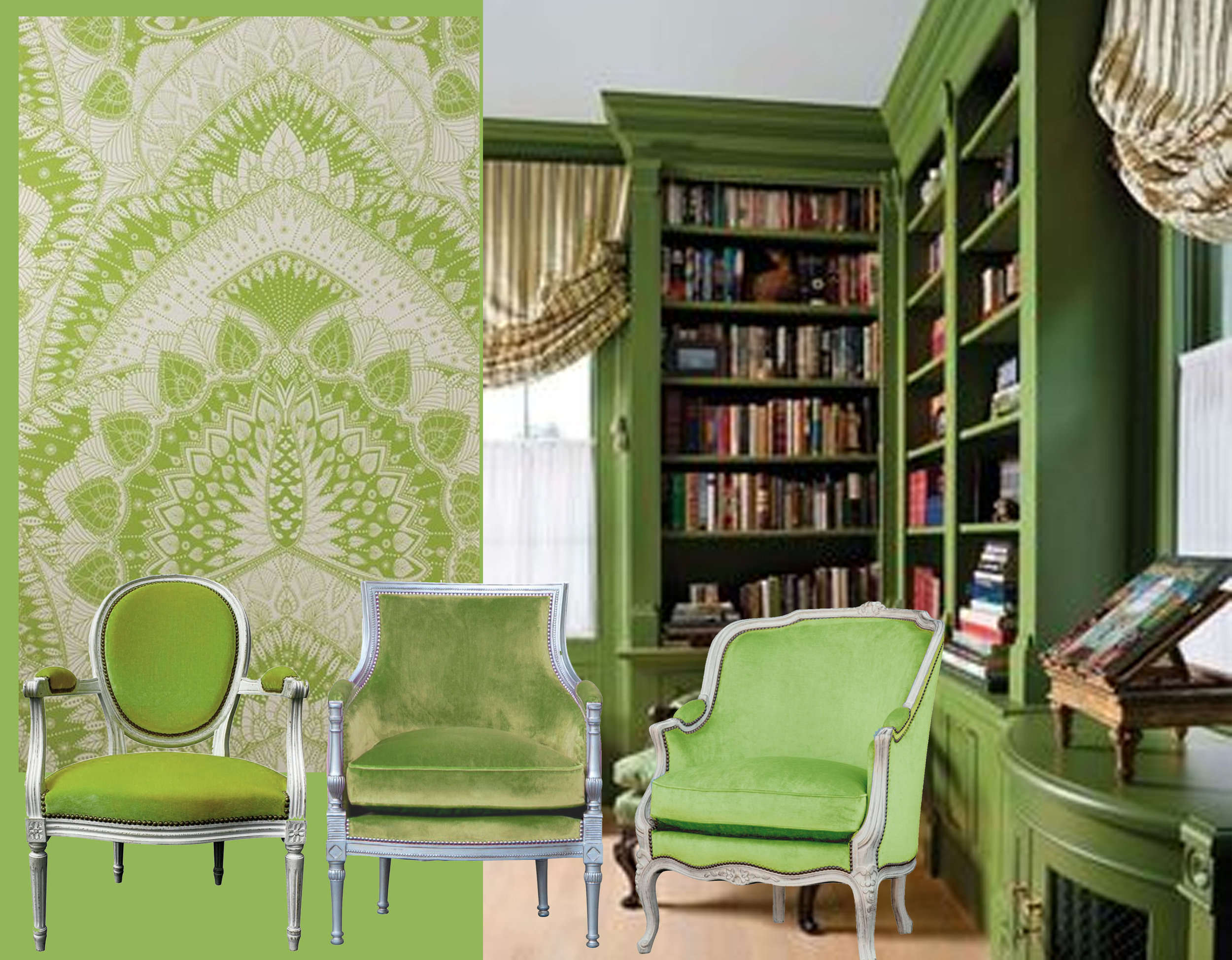 armchairs  Gilles Nouailhac  - wallpaper Azari  Osborne & Little  - classical interior via  Pinterest