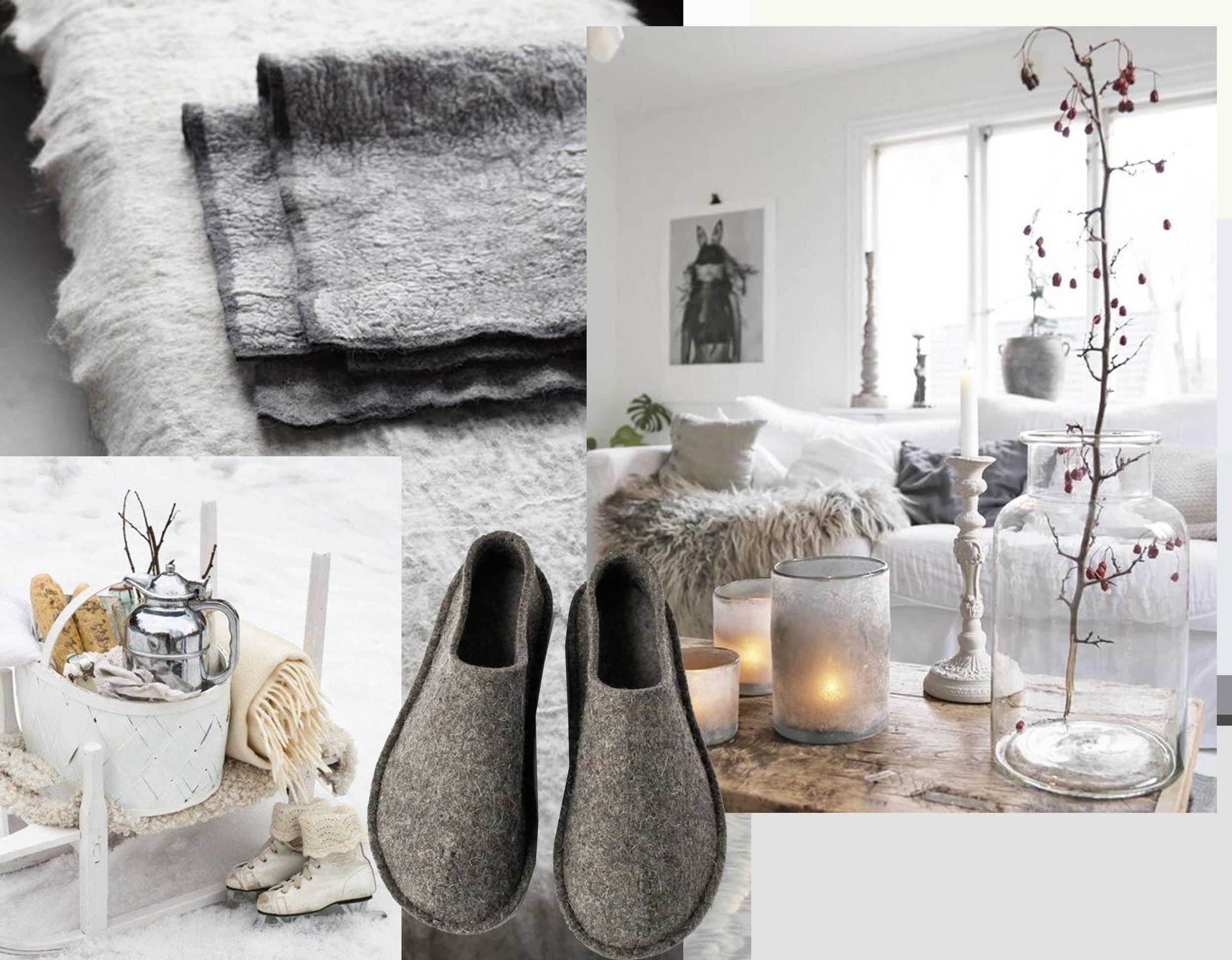 outdoor image via Pinterest - felt blankets via  VT Wonen  - felt shoes via Pinterest - interior via Instagram