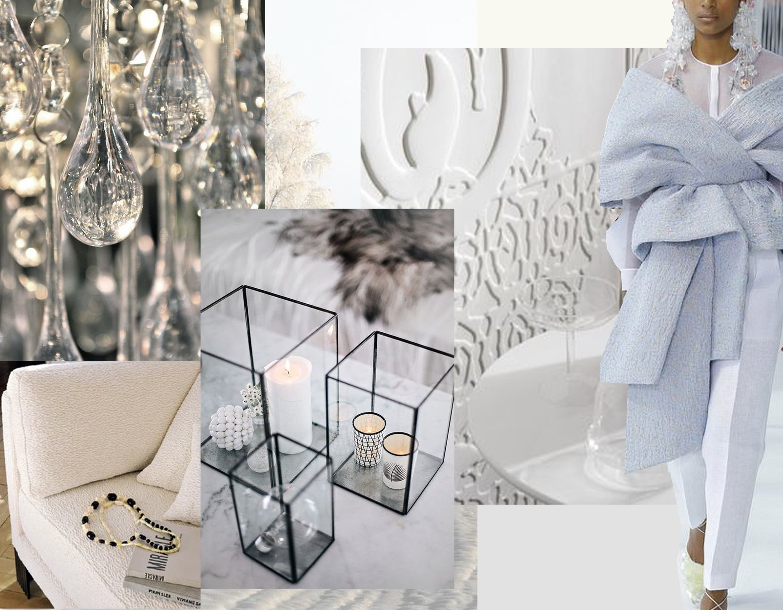 glass drops via  Stellarsk y - fabric on armchair Astrakan  Elitis  - bas-relief wallpaper Loop  Elitis  - candls via  Kreativk  -  Delpozo  spring 2017