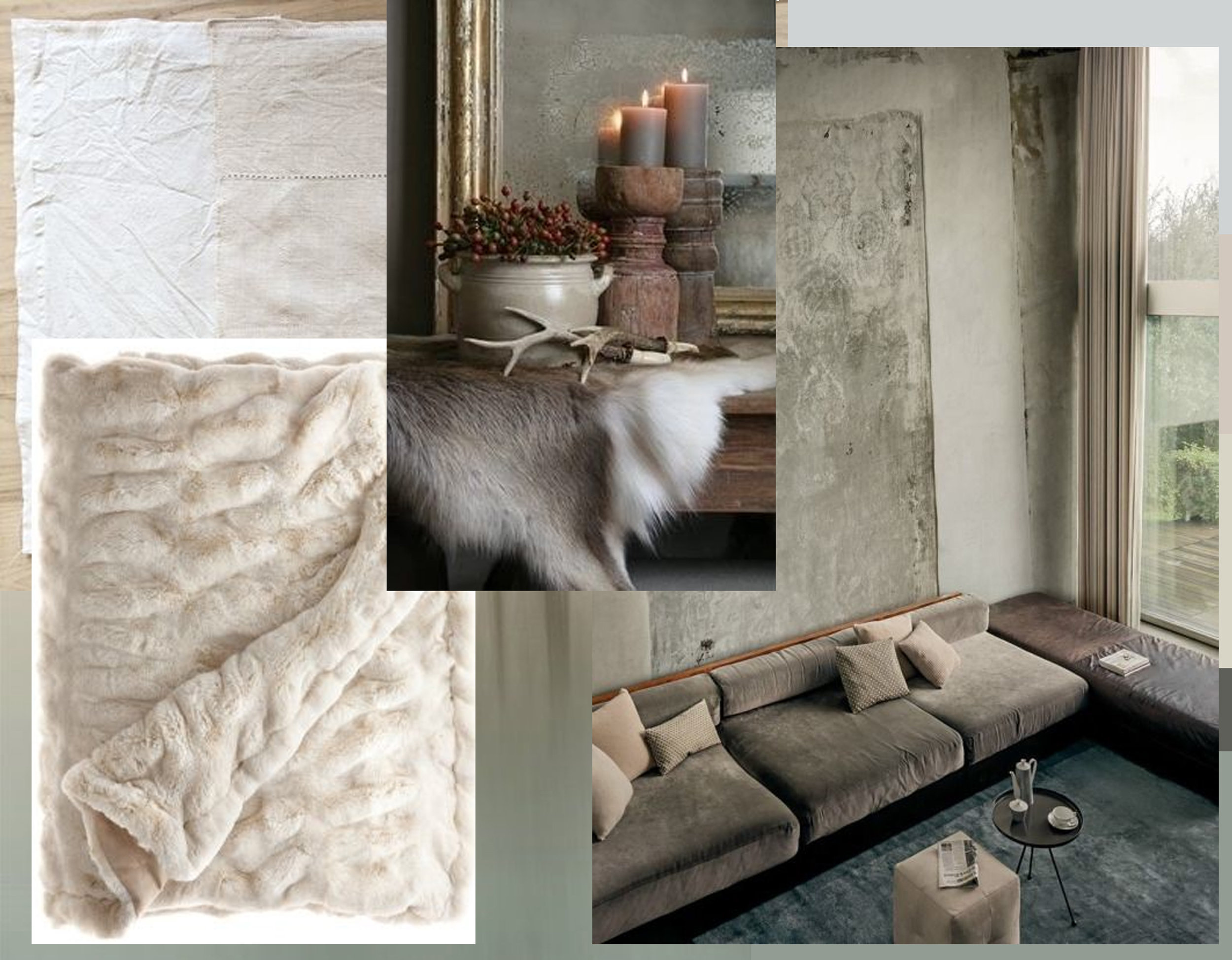 Patchwork Linens from Copenhagen via  Remodelista  - faux-fur throw  Pop Sugar  - cosy winter decoration via  Oak Furnitureland  - interior image via  Feed Puzzle