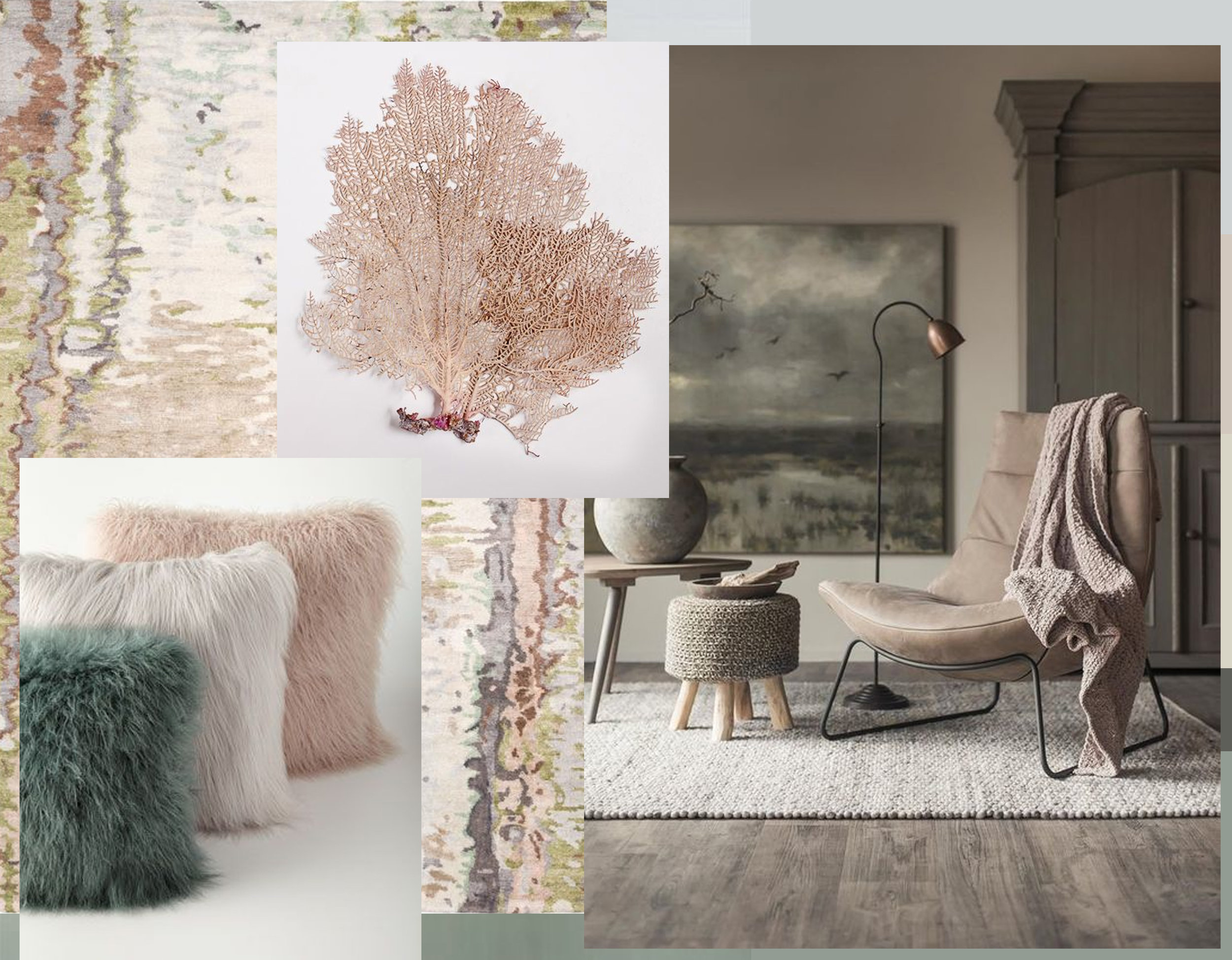 Tidal rug  The Rug Company  - faux-fur cushions via  Dirtbin Design  -  Collage with Nature  - interior image via  Woonhuis