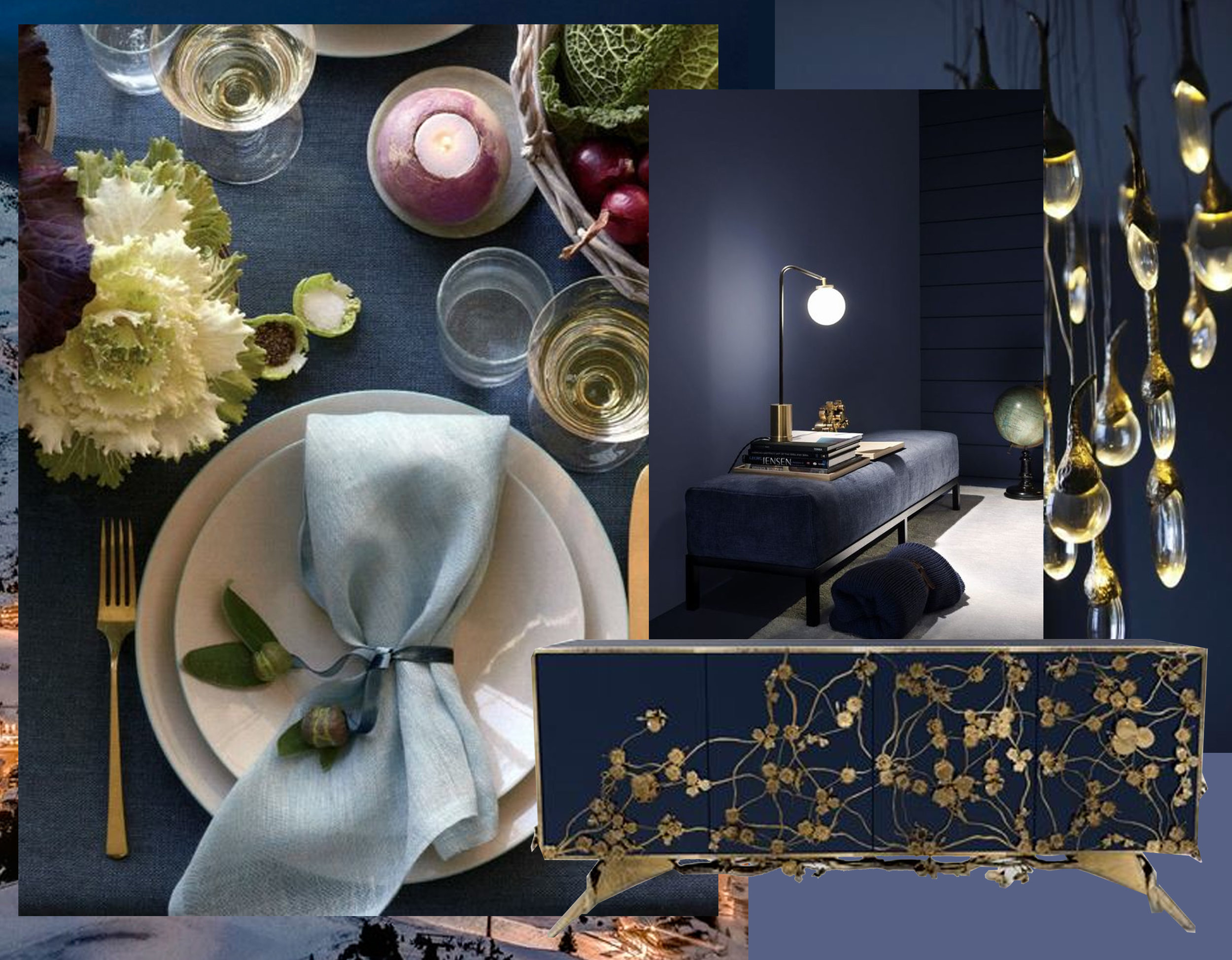 table setting via  Timeless Wrought Iron  - bench via  Journelles  - Spellbound cabinet  Koket  - Seed Cloud light fixture  Ochre