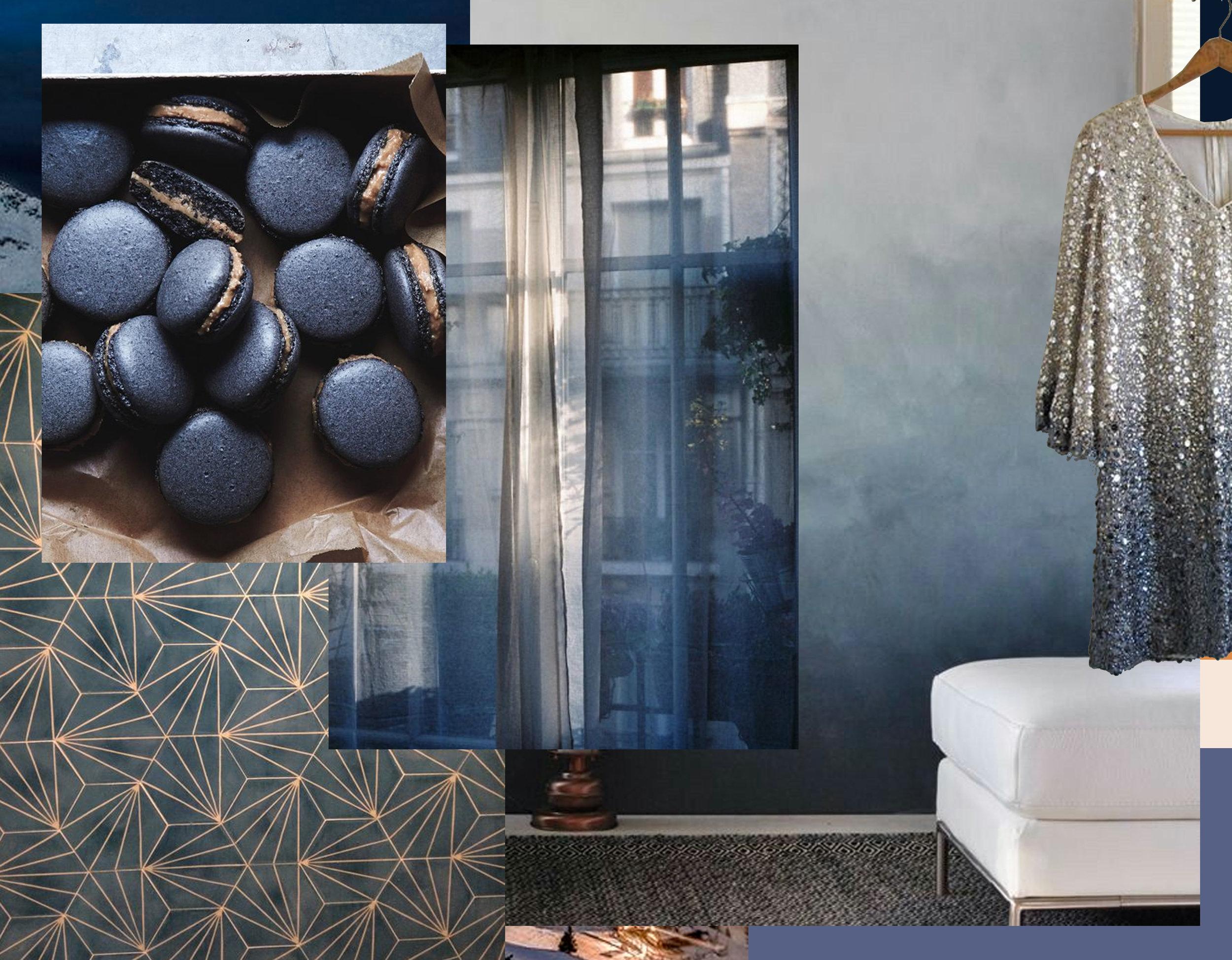 Dandelion ciment tile  Marrakech Design  - black sesame macarons via  The Tart Tart  - window image via  The Poetry of Material Things  - Ombre wall - sequin dress  The Elms Vintage