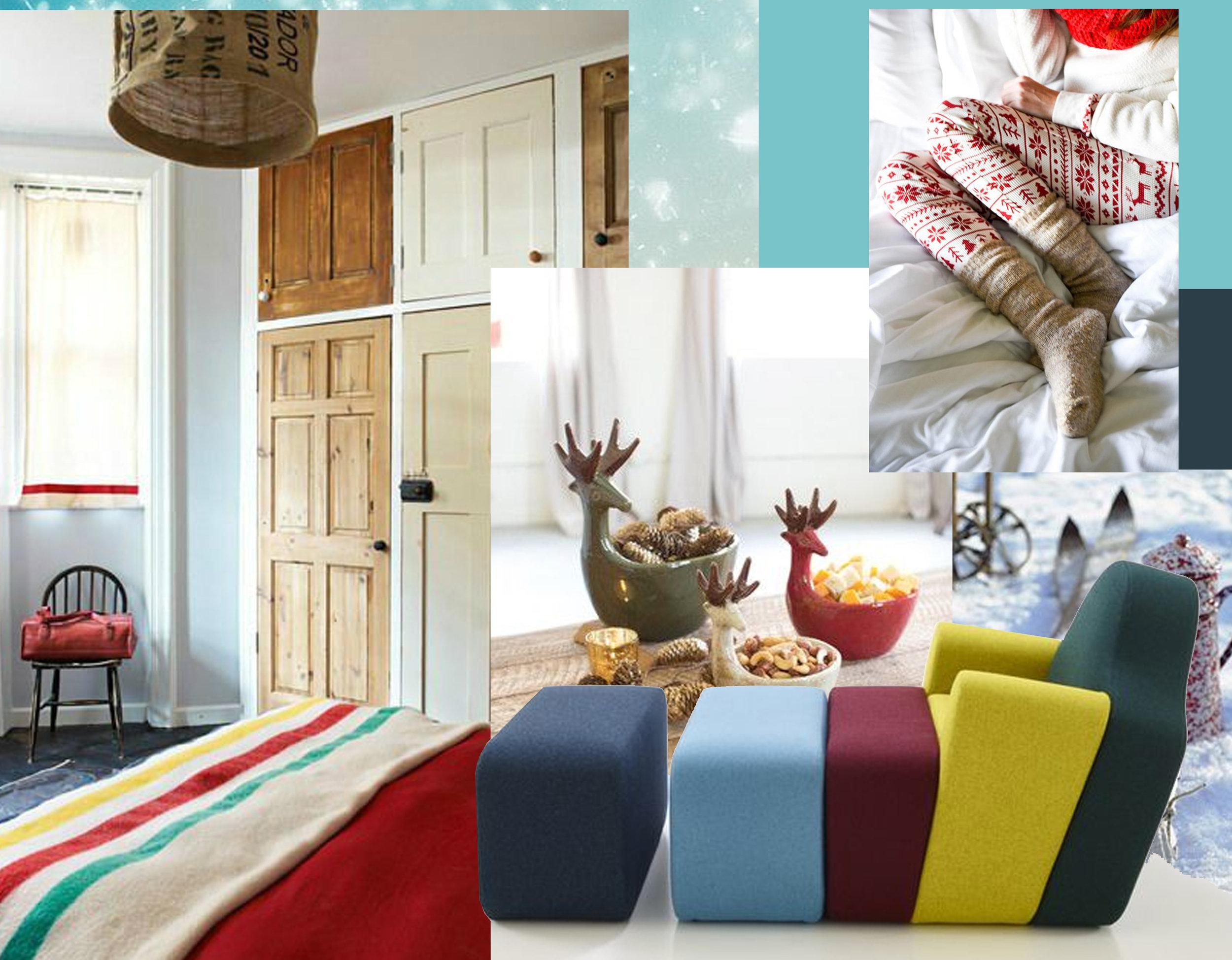 interior via  Decoholic  - Kalalou Ceramic Deer bowls  Mod.ish  - winter pajamas with traditional print  Sequins & Things  - armchair Slice  Pierre Charpin