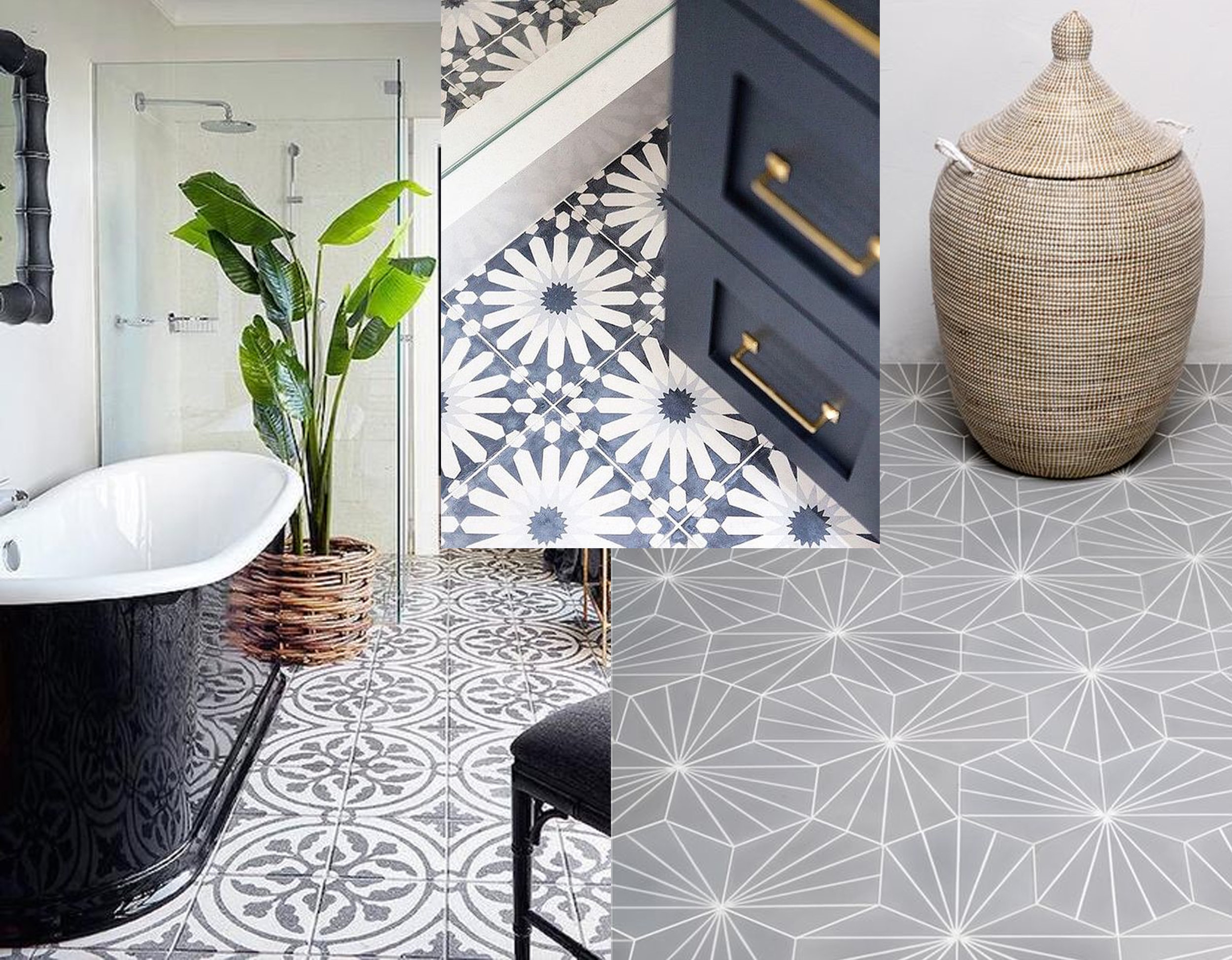 tiles bathroom via  Becki Owens  - Moroccan inspired tiles  Ann Sacks  - Dandelion tile  Claesson Koivisto Rune