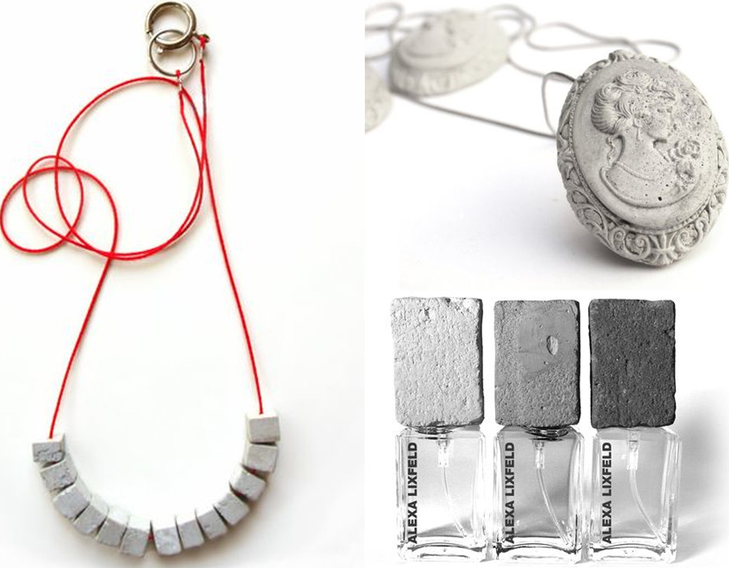 Urban necklace and Cameo necklace  Shooosh Jewelry  - concrete top for perfume bottle designed by Alexa Lixfeld via  Dezeen