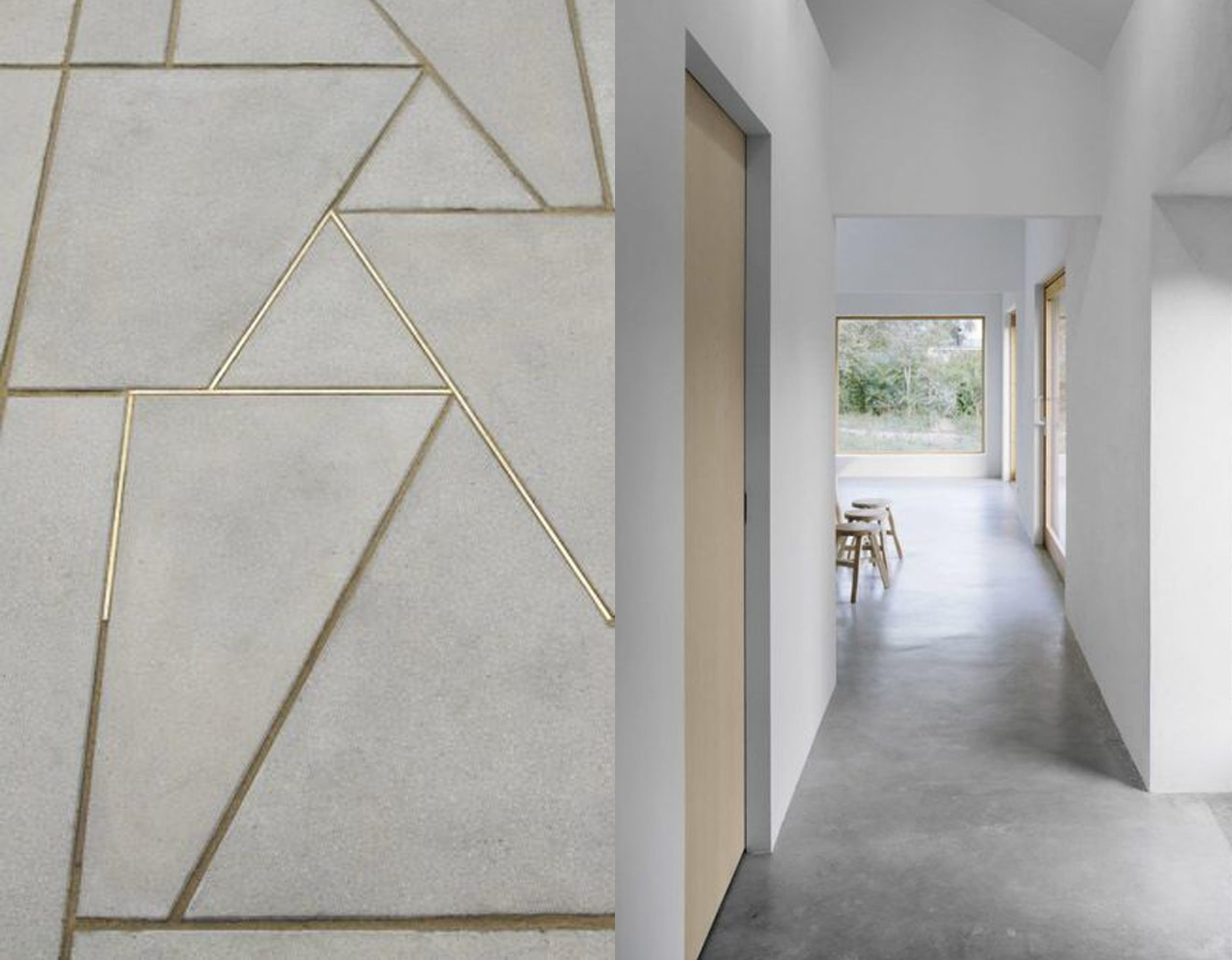 concrete + gold via  Lex De Gooijer  - minimalist interior via  Pinterest