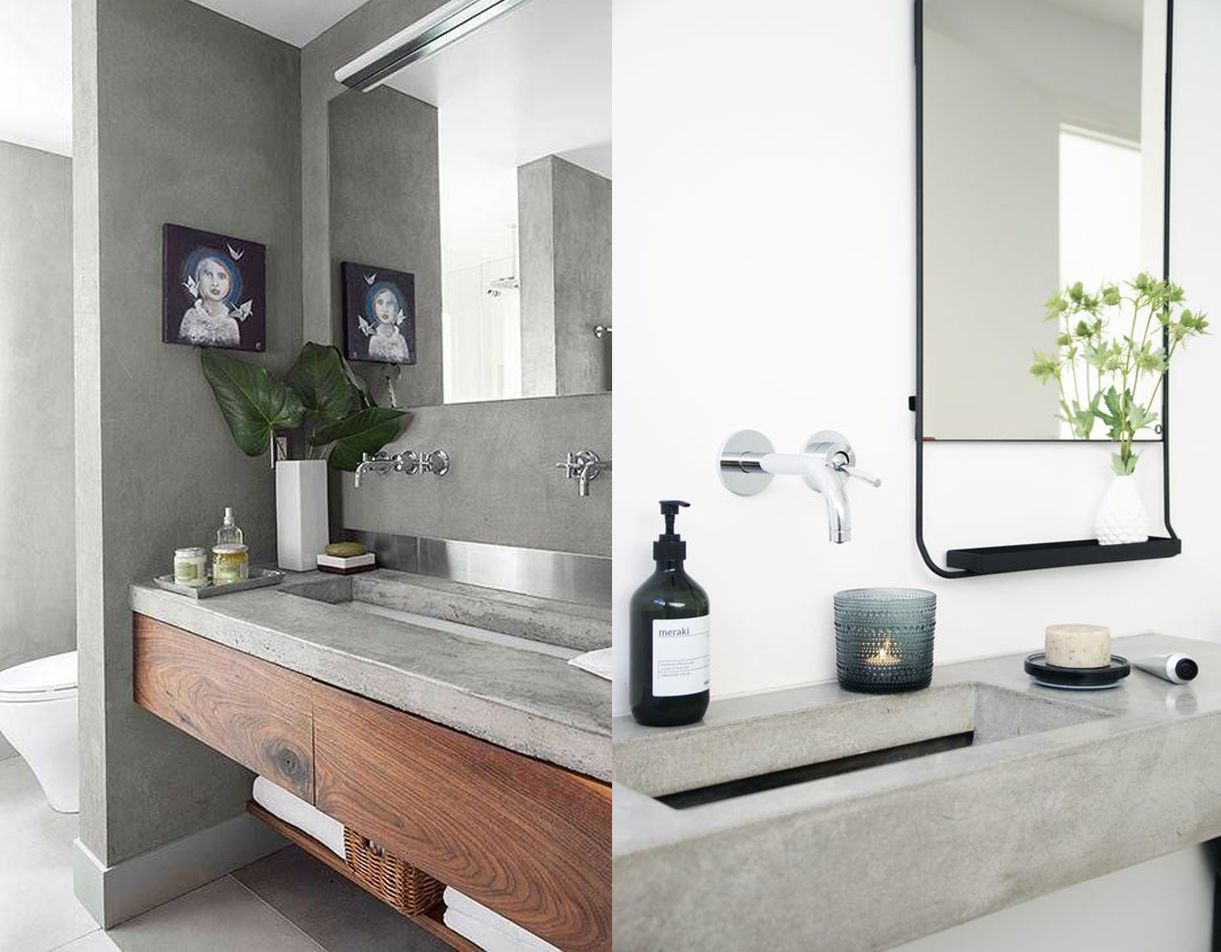 concrete counter top via  Domino  - concrete washbasin via  Funksjonelt