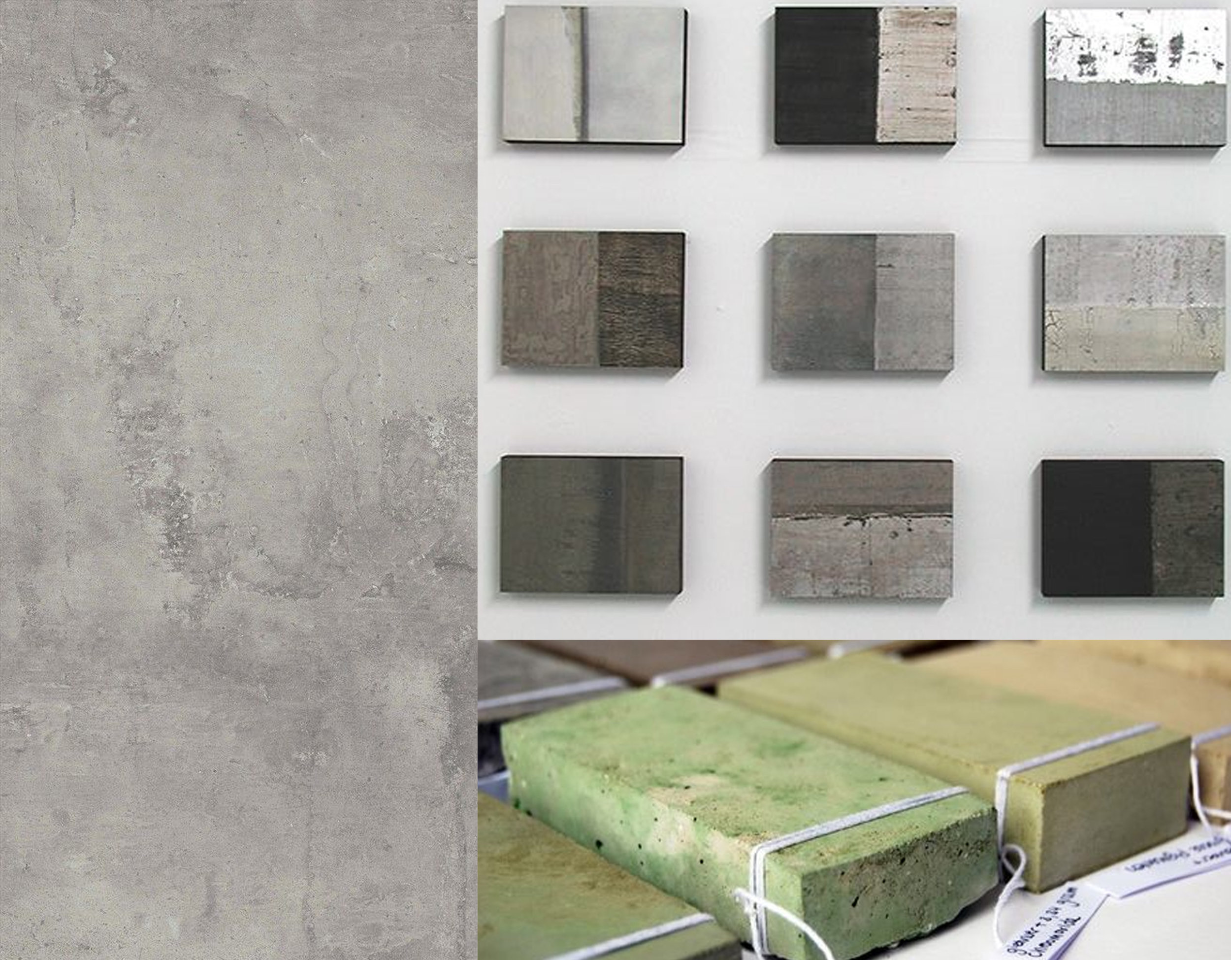tiles with concrete look from  Beaumont tiles  - concrete finishes via  Leslie Avon Miller  - Material study: color and concrete  Studio Femke Roefs