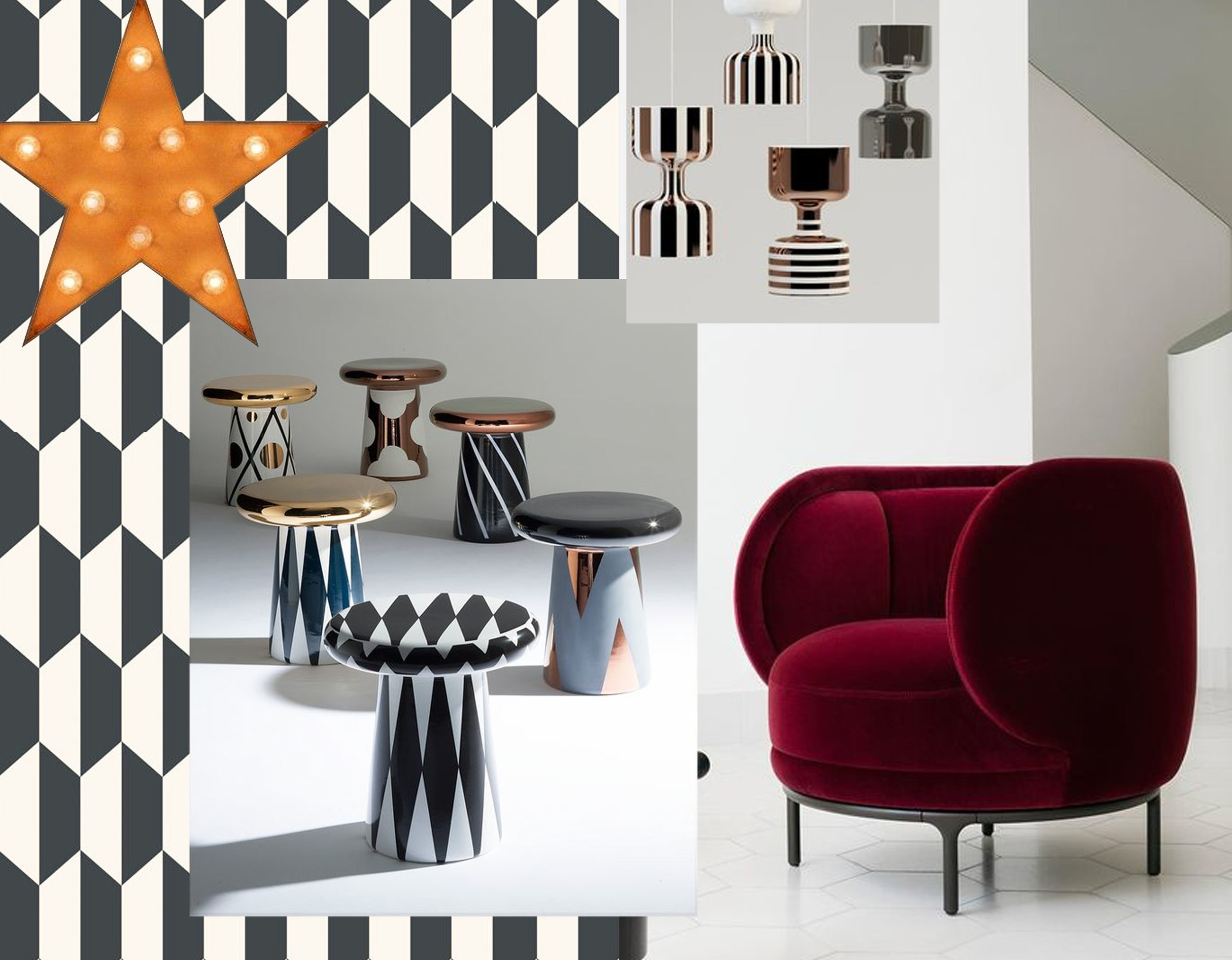 wallpaper Tile  Cole & Son  - star with light bulb  Really Nice Things  - T-Table Jaime Hayon for Bosa via  Sohomod  - hanging lamps Chapiteau by Ekaterina Elizarova for Bosa via  Archiproducts - armchair by jaime Hayon for  Wittmann