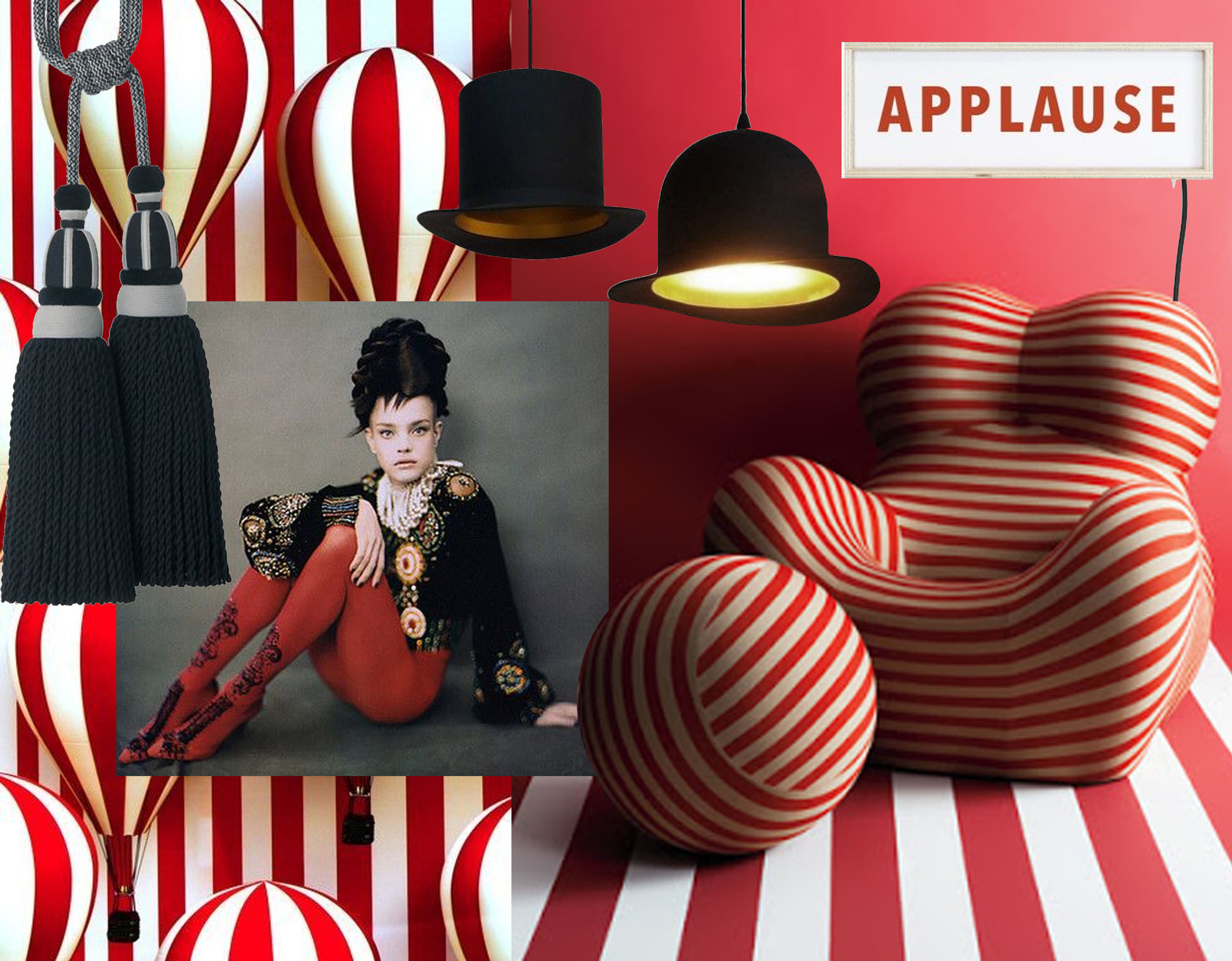 tie back Plaza  Houles  - candy striped ballons via  Vienna Right Now  - fashion image  Paolo Roversi  - Applause wall lamp  Really Nice Things  -hanging lamp Bombin  Really Nice Things  - hanging lamp Borsalino  Really Nice Things