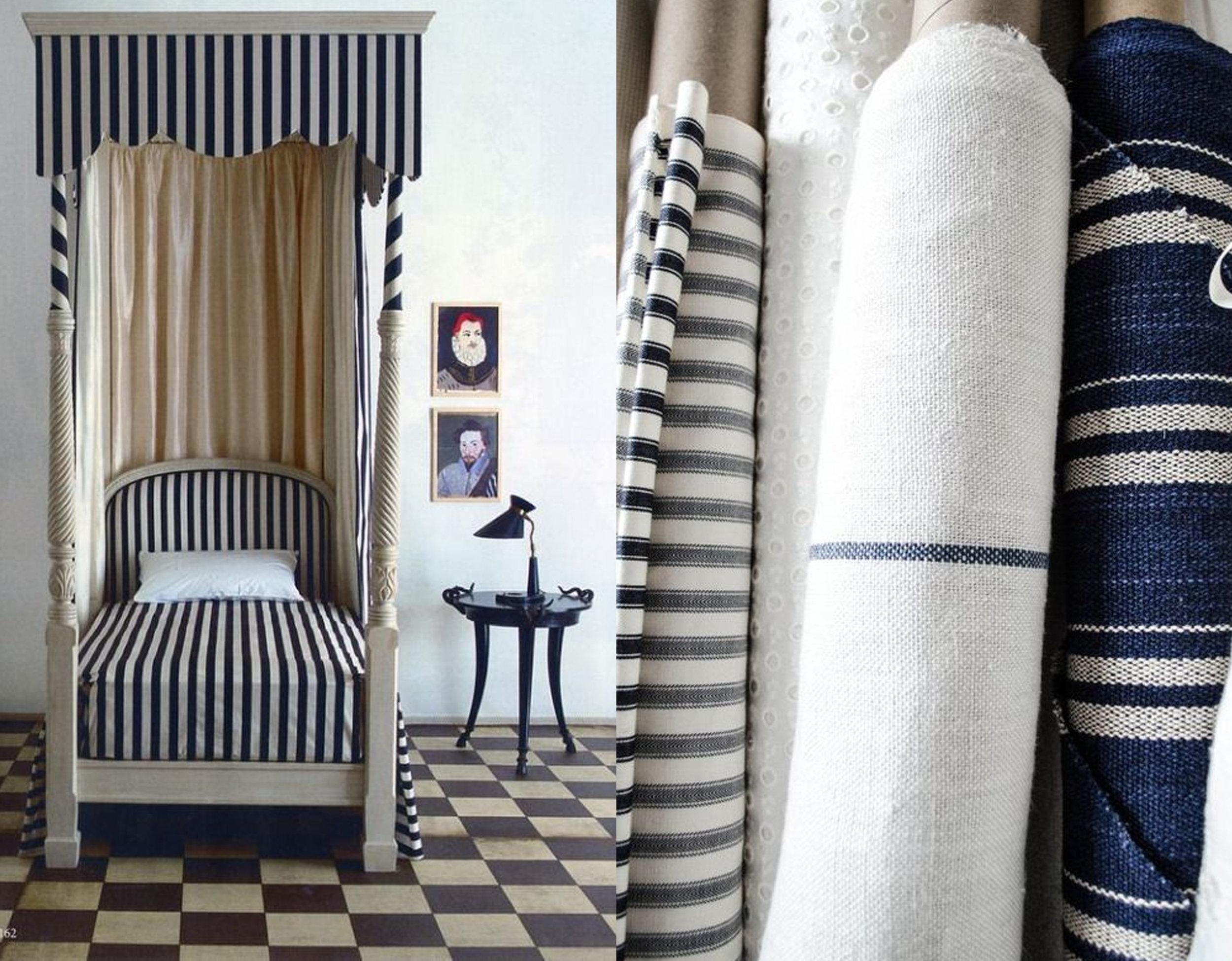 bedroom via  Pinterest  - image fabrics via  Komedal Road