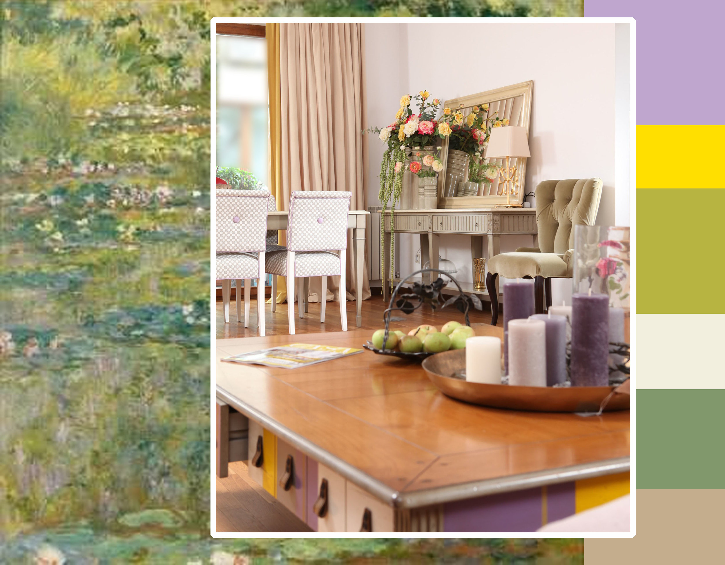 painting Water Llilies   Monet  -  interior project  Bucharest - image  Casa Lux