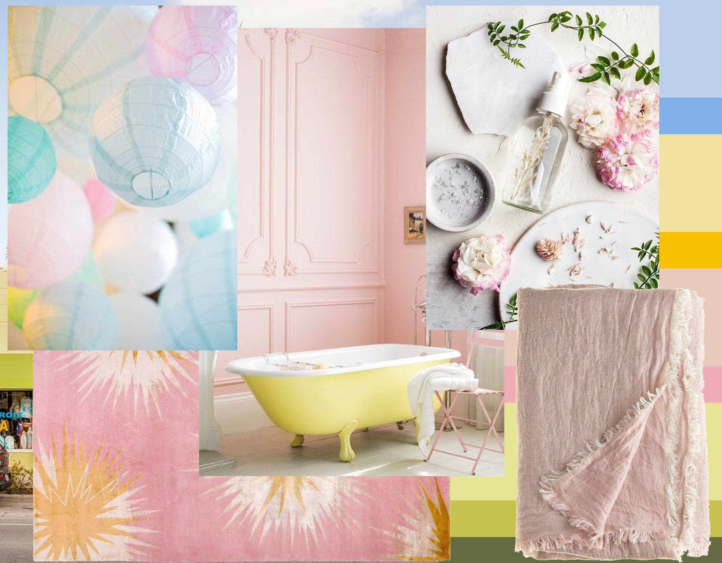 image paper lamps - image bathtub via  Pinterest  - rug Thistle Gold  The Rugcompany  - linen throw via  Pinterest  - beauty image via  Hello Glow