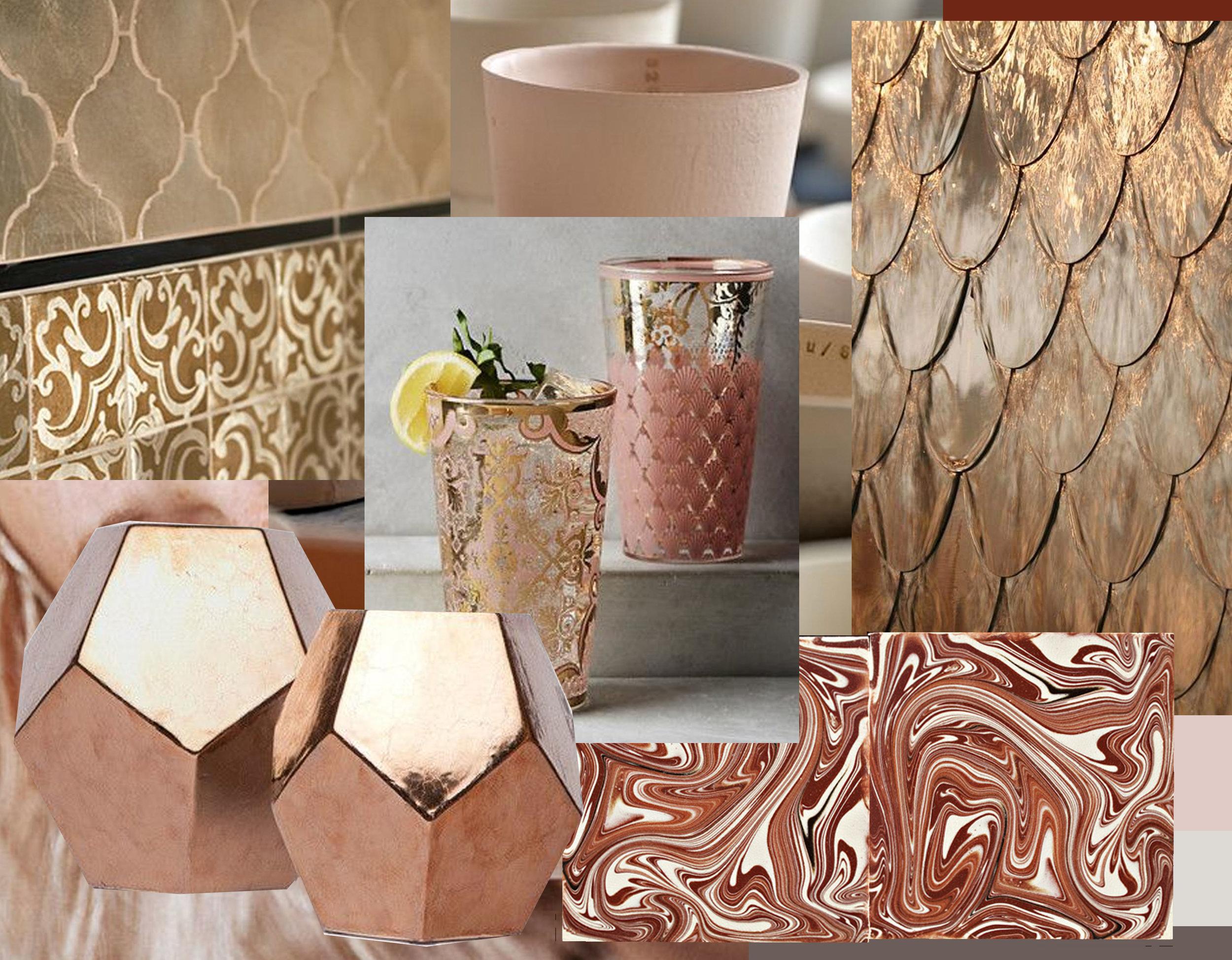 Contessa tiles  Walker Zanger - Renesse high glasses  Keep  - marbled tiles  De Ferranti - metal Petal Waterfall via  Sors