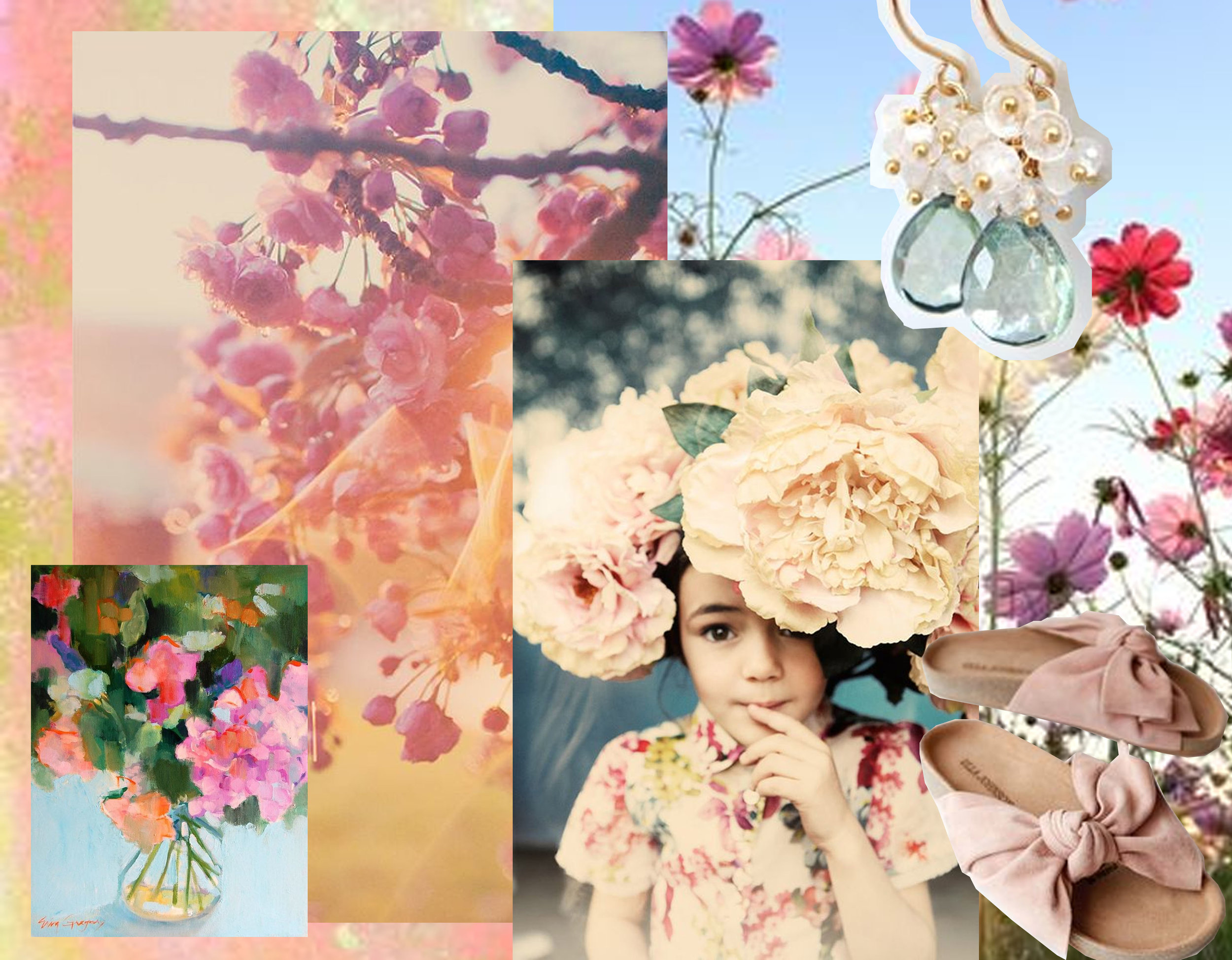 painting  Erin Gregory - blossom via  Birch & Willow  - little girl  Pinterest  - ear rings  Aubepin  - shoes  Mille  - Cosmos Flowers via  500px