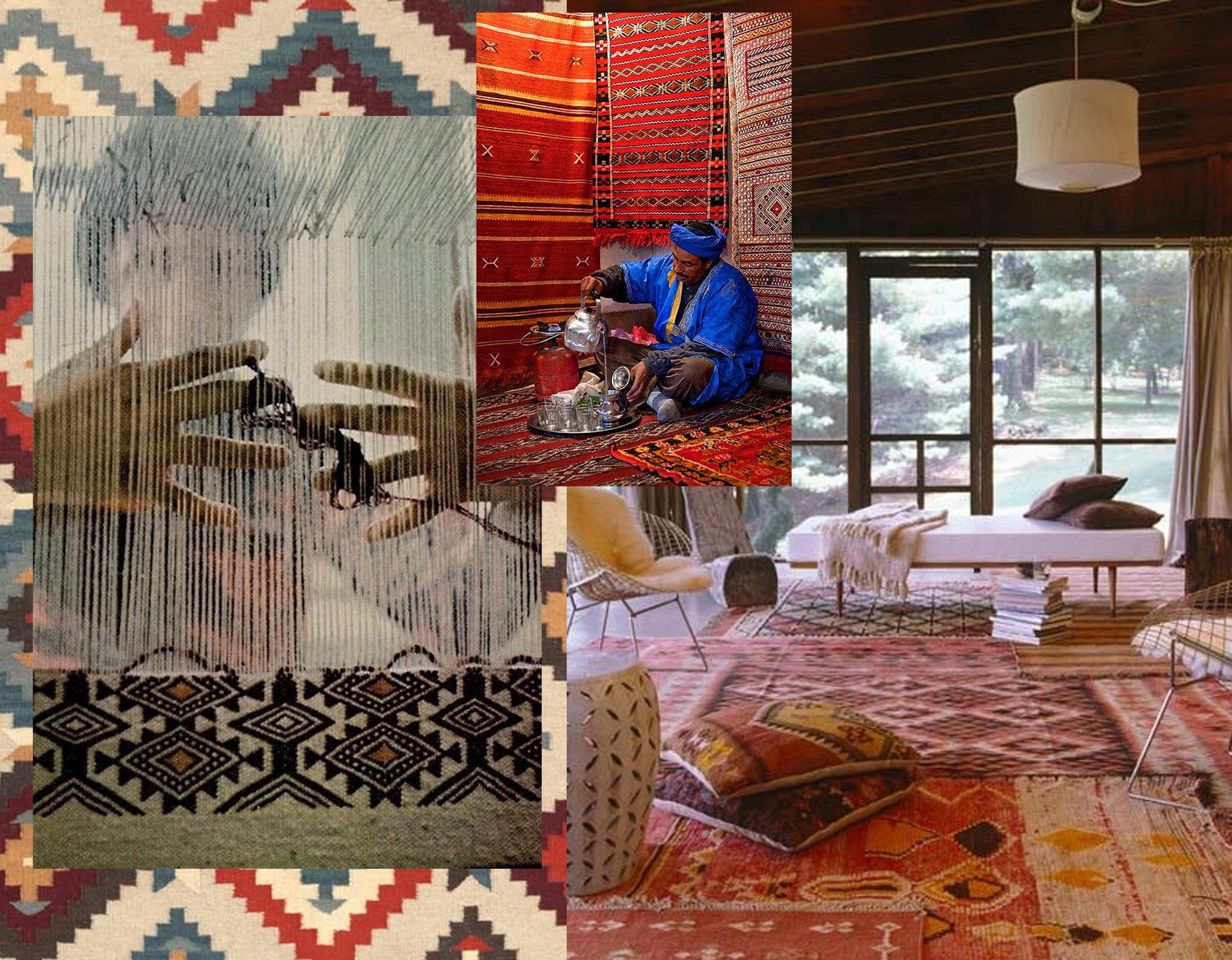 Kilim  Annie Selke  - kilim weaving via  National Geographics - kilim shop via  Yes and Yes - interior image via  The White Buffalo Styling