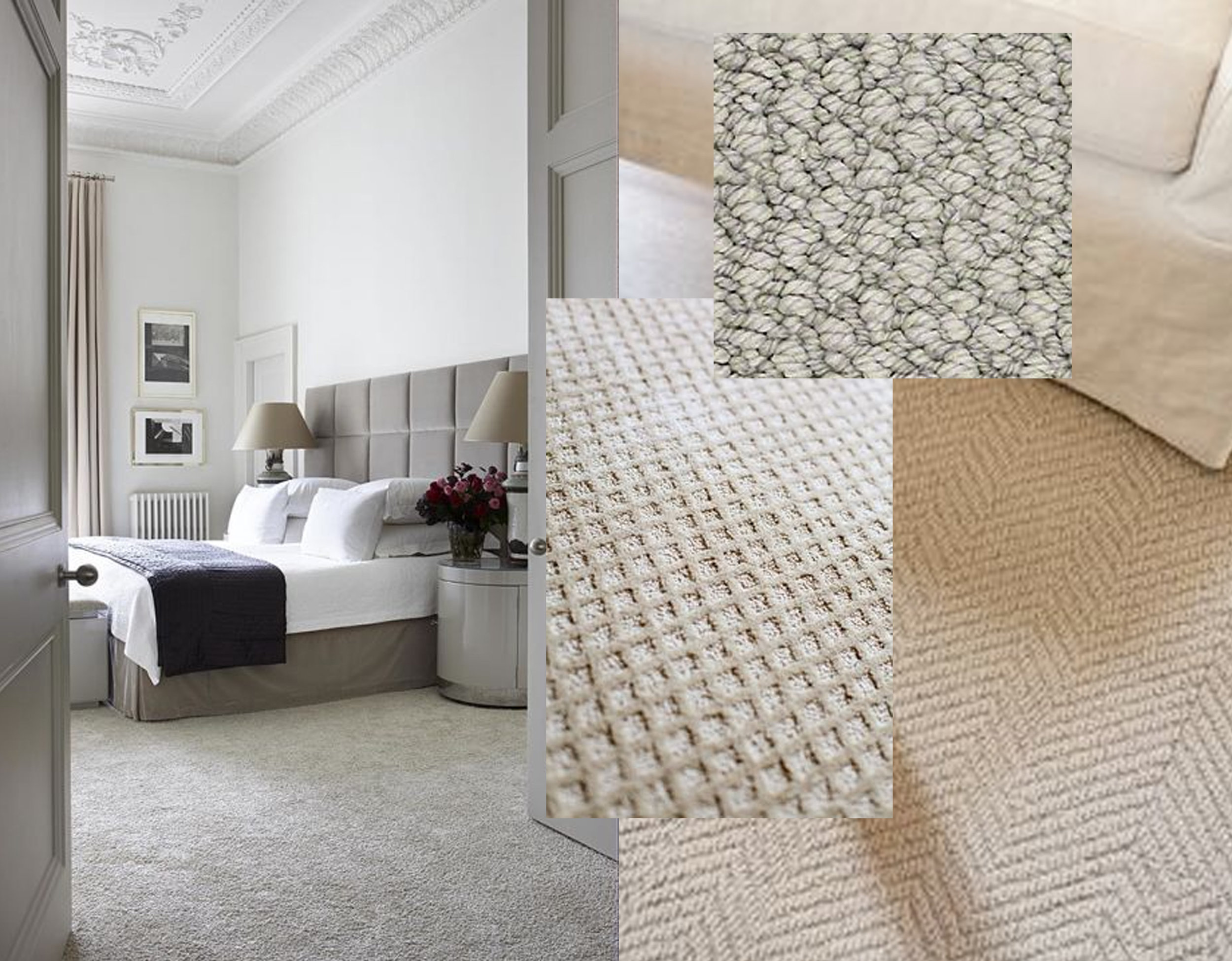 Bedroom image via  Harpers Bazaar  - herringbone carpet via  The lettered Cottage  - loop carpet sample  Shawfloors