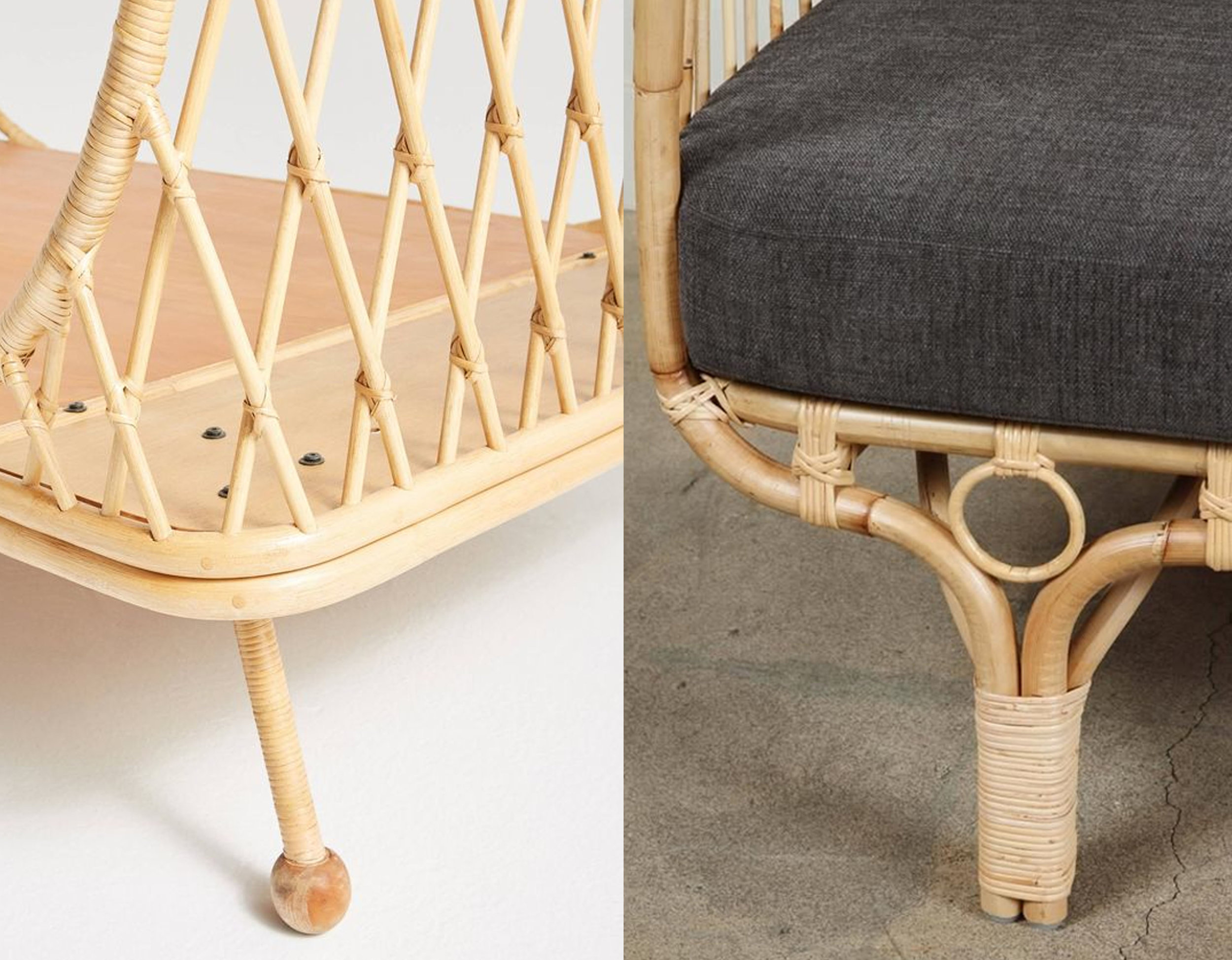 detail rattan bed  Anthropologie  - detail Bella Donna couch by Franco Albini  1stdibs