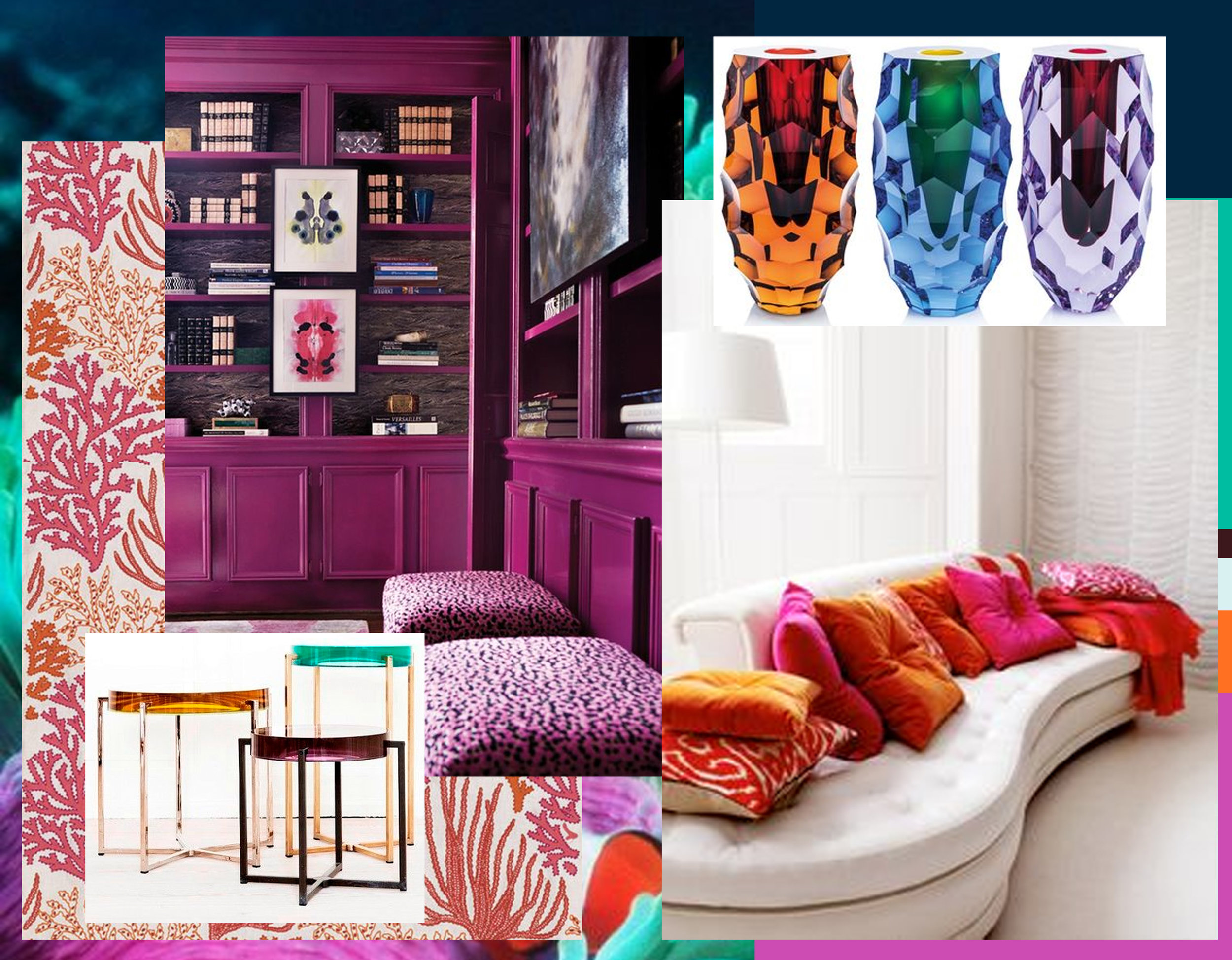 library in fuchsia via  House Beautiful  - small tables by McCollin Bryan - fabric Tobago of Lorca via  Vogue  - vases Moser collection via  M&O