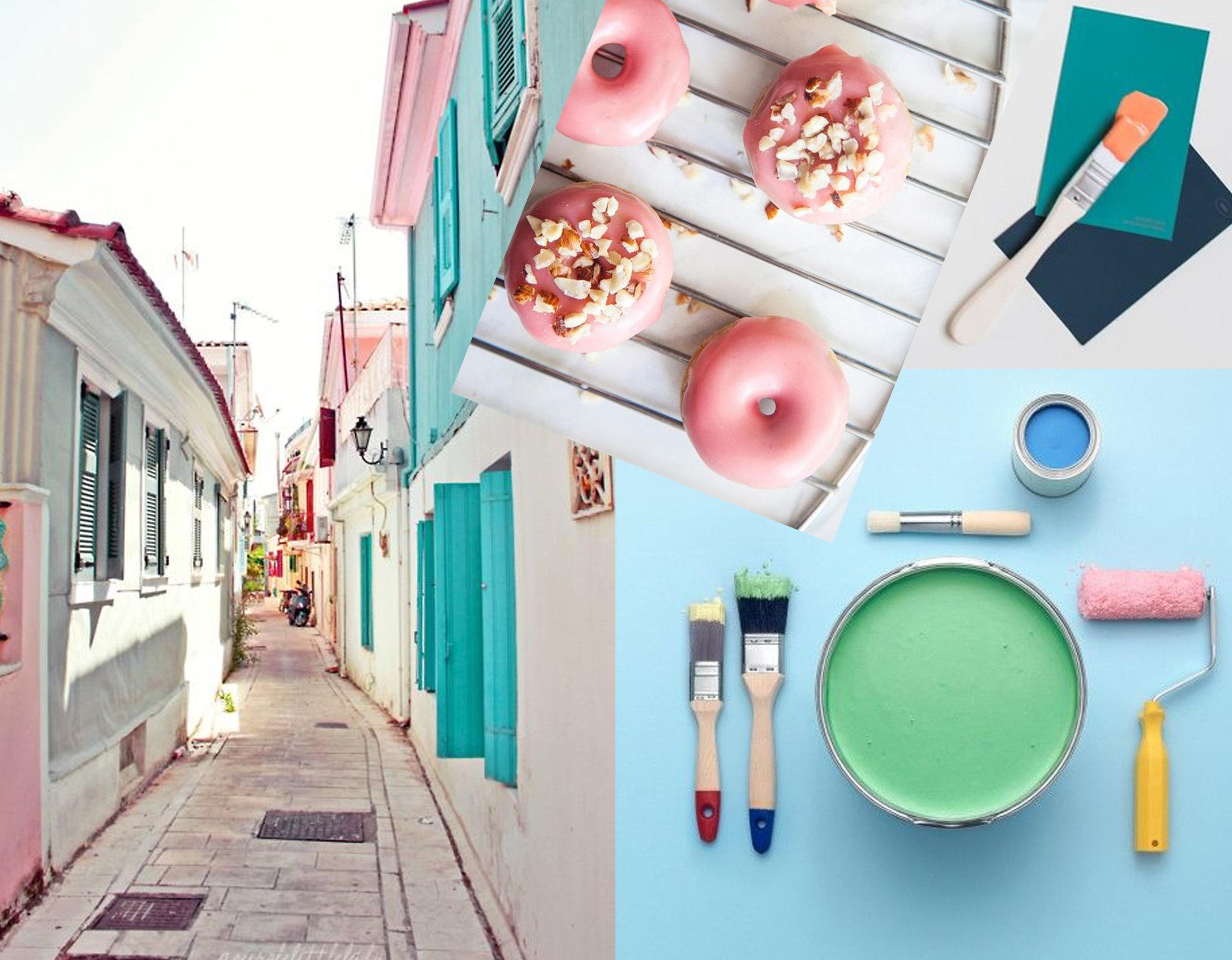 image Greece via  Pinterest  - doughnuts via  Made By Girl  - paint colors via  Pinterest